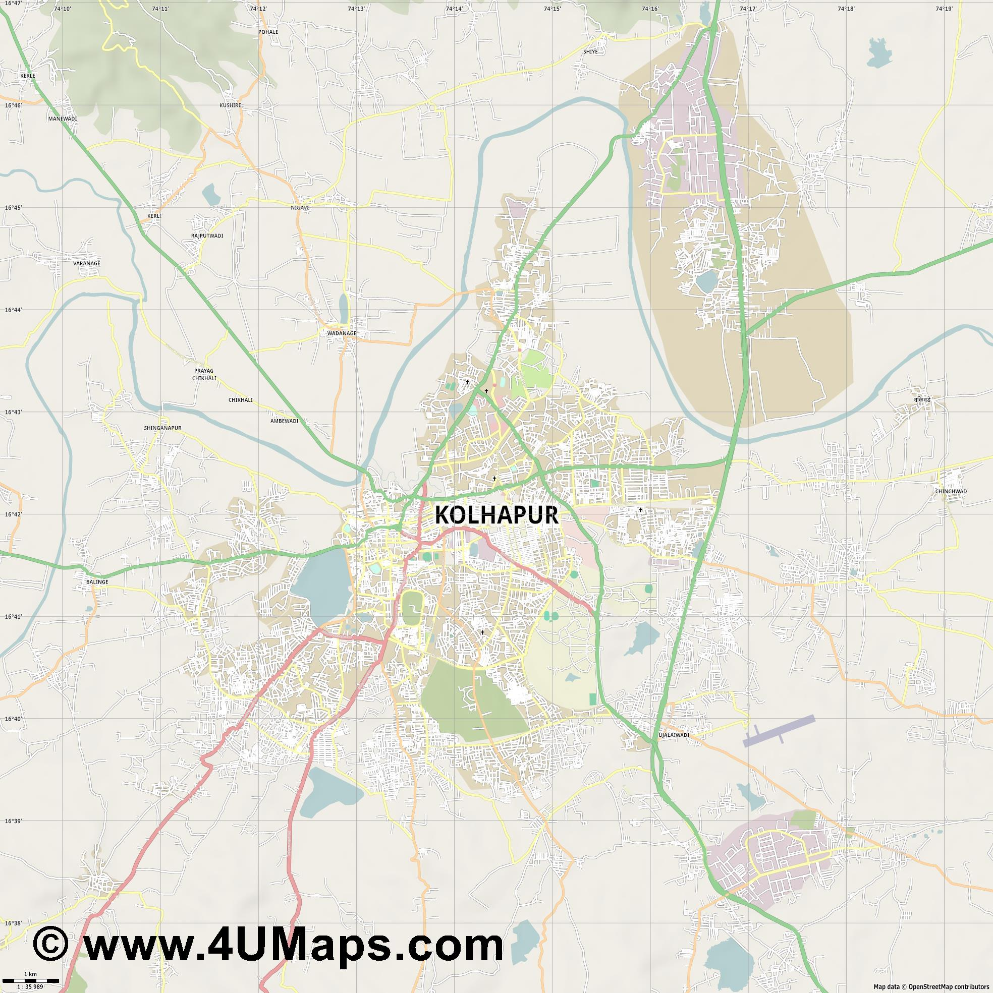 Kolhapur  jpg high detail, large area preview vector city map
