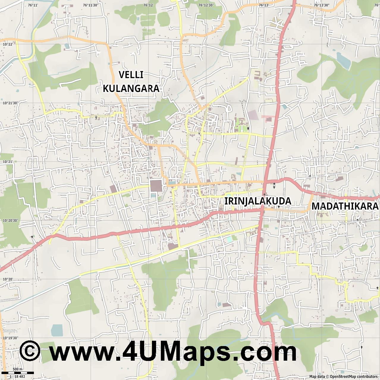 Irinjalakuda  jpg ultra high detail preview vector city map