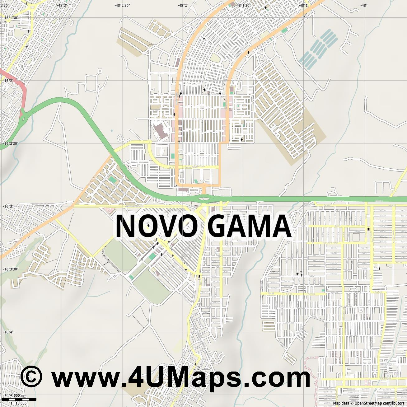 Novo Gama  jpg ultra high detail preview vector city map