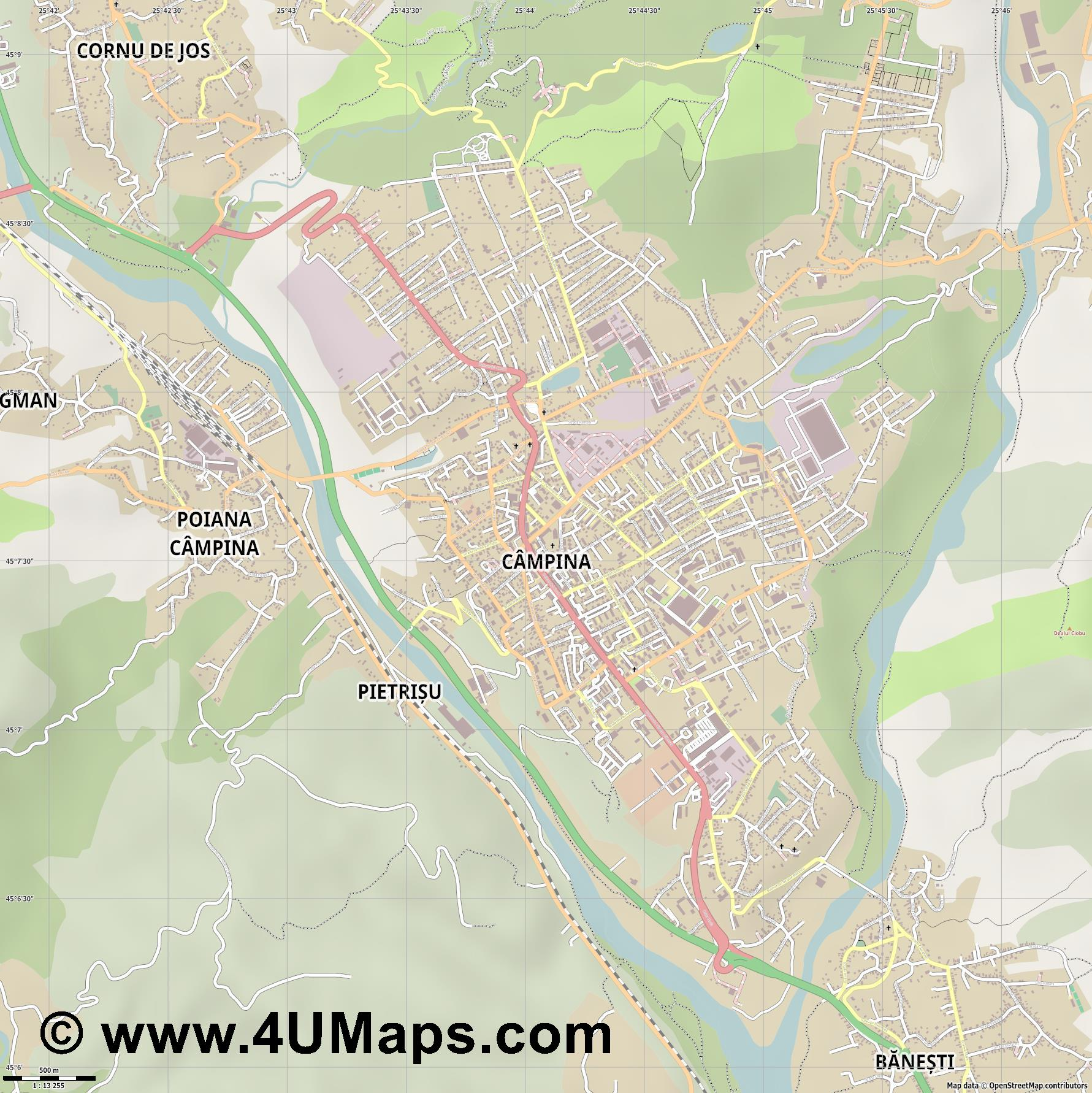 Câmpina  jpg ultra high detail preview vector city map
