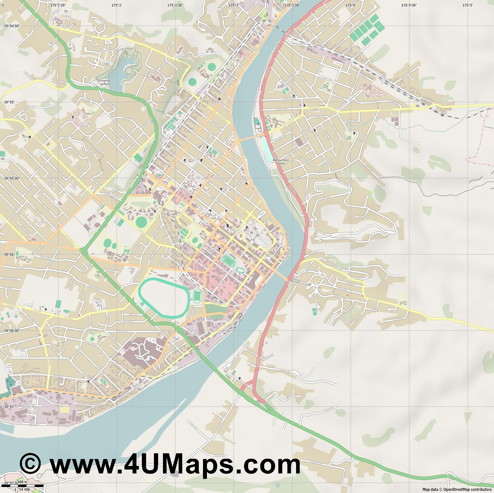 Whanganui  jpg ultra high detail preview vector city map