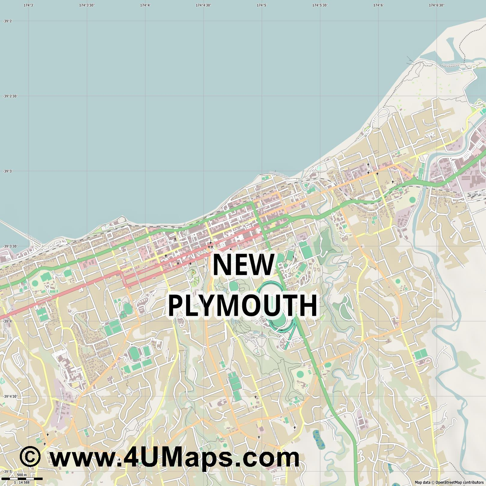 New Plymouth  jpg ultra high detail preview vector city map
