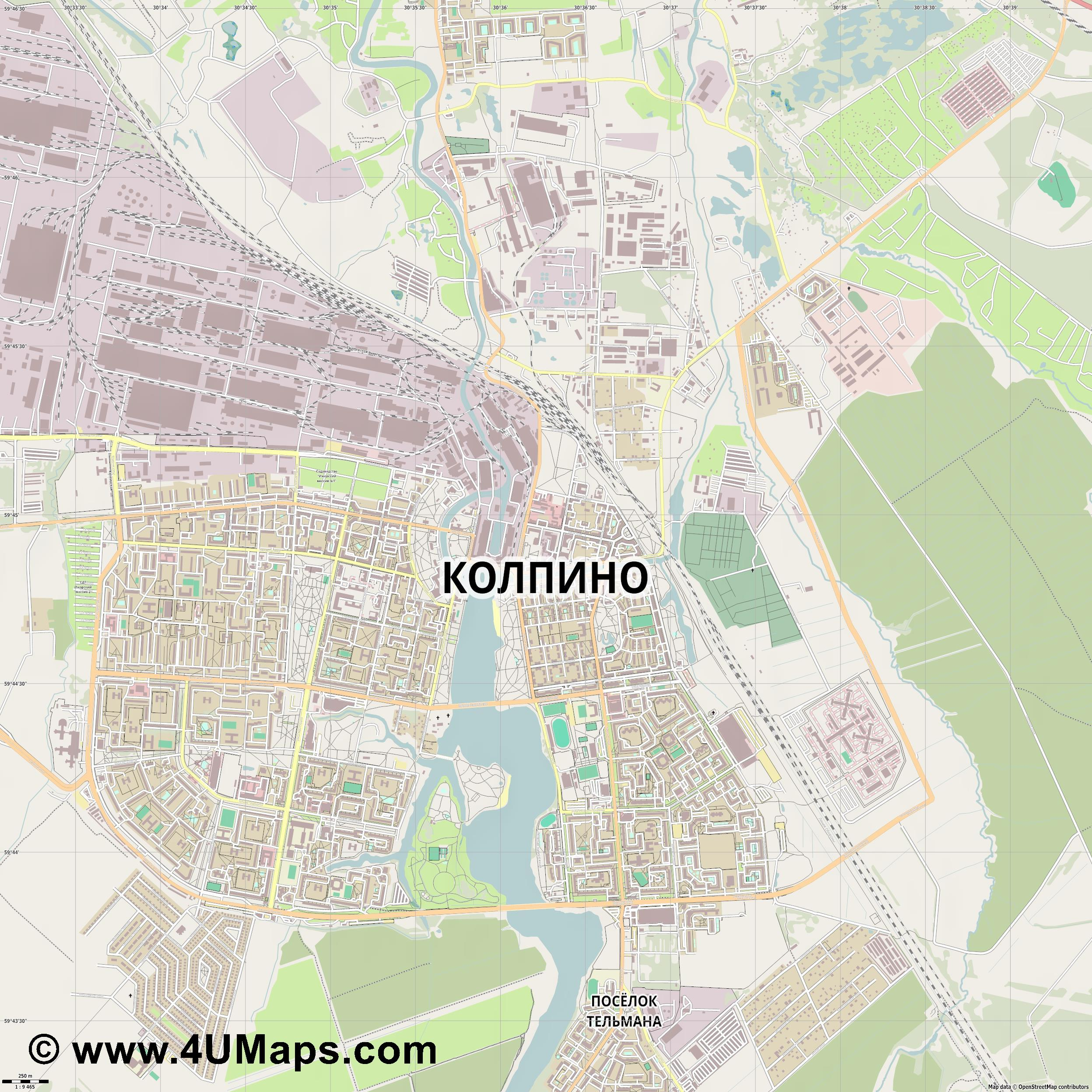 Колпино Kolpino  jpg ultra high detail preview vector city map