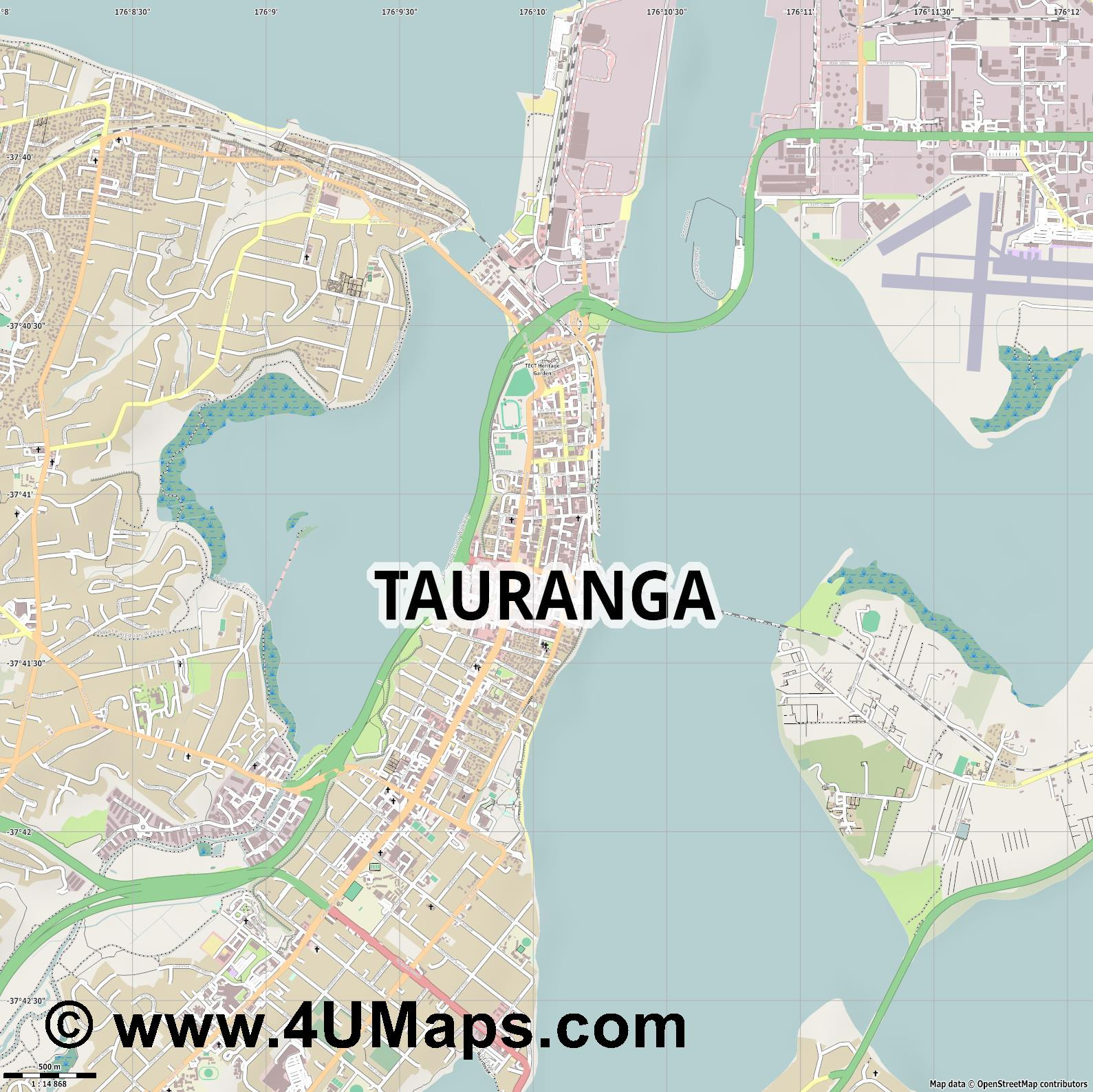 Tauranga  jpg ultra high detail preview vector city map