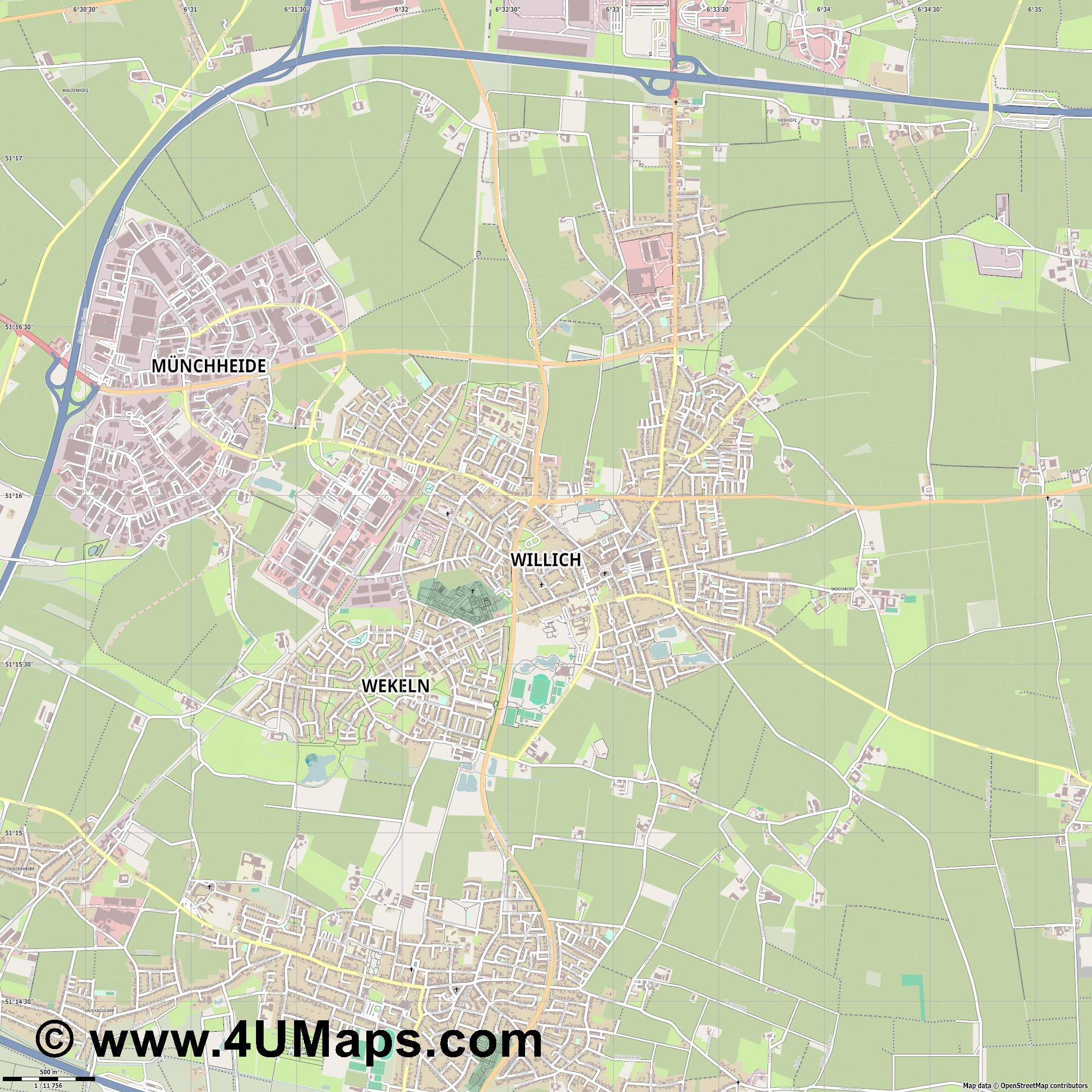 Willich  jpg ultra high detail preview vector city map
