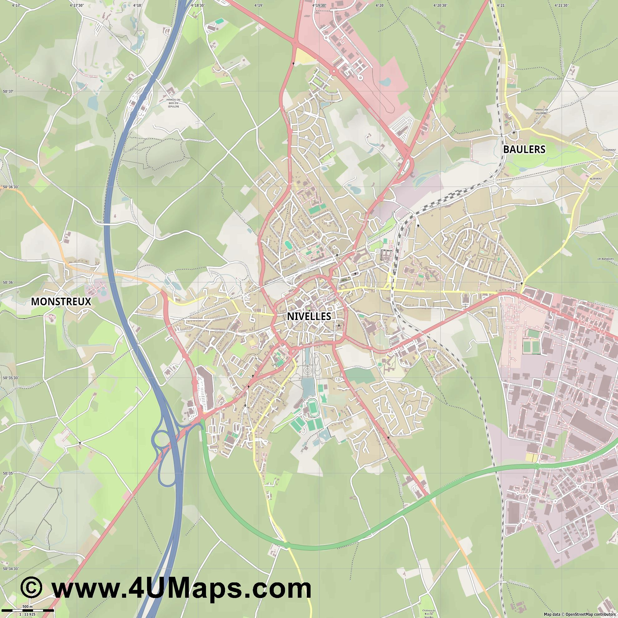 Nivelles  jpg ultra high detail preview vector city map
