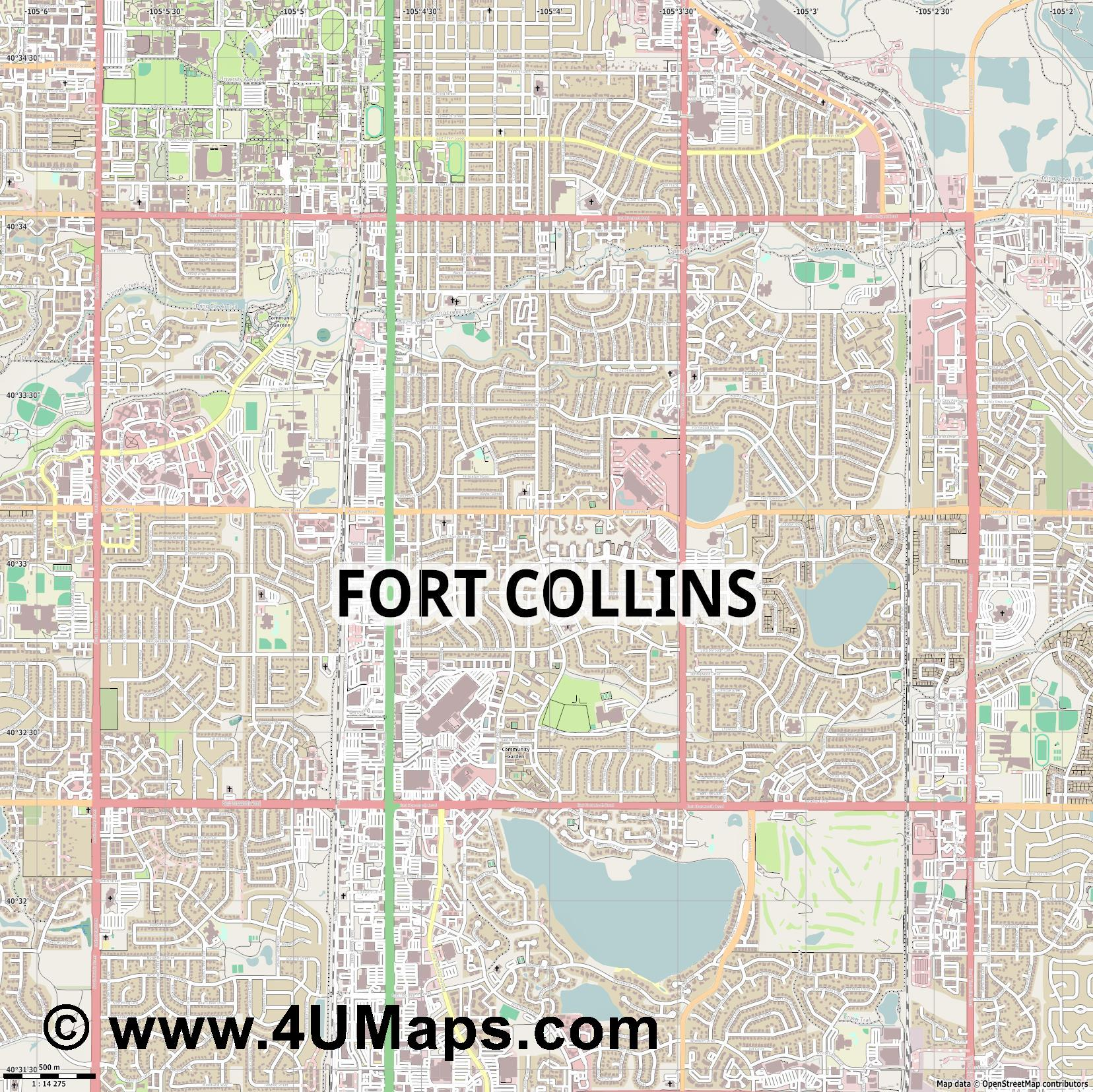 Fort Collins  jpg ultra high detail preview vector city map