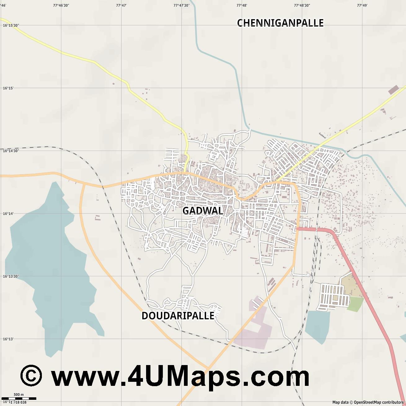 Gadwala  jpg ultra high detail preview vector city map