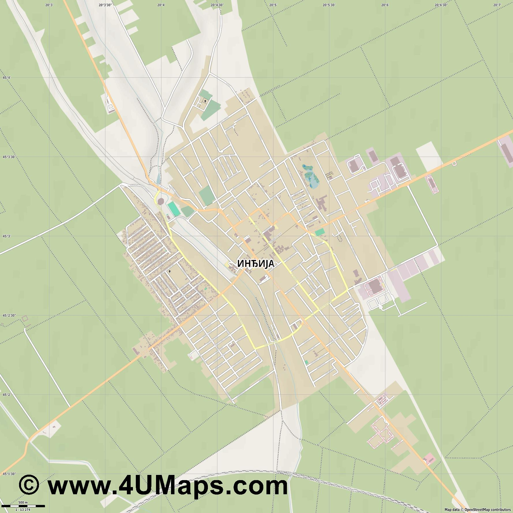 Инђија Indjija India  jpg ultra high detail preview vector city map