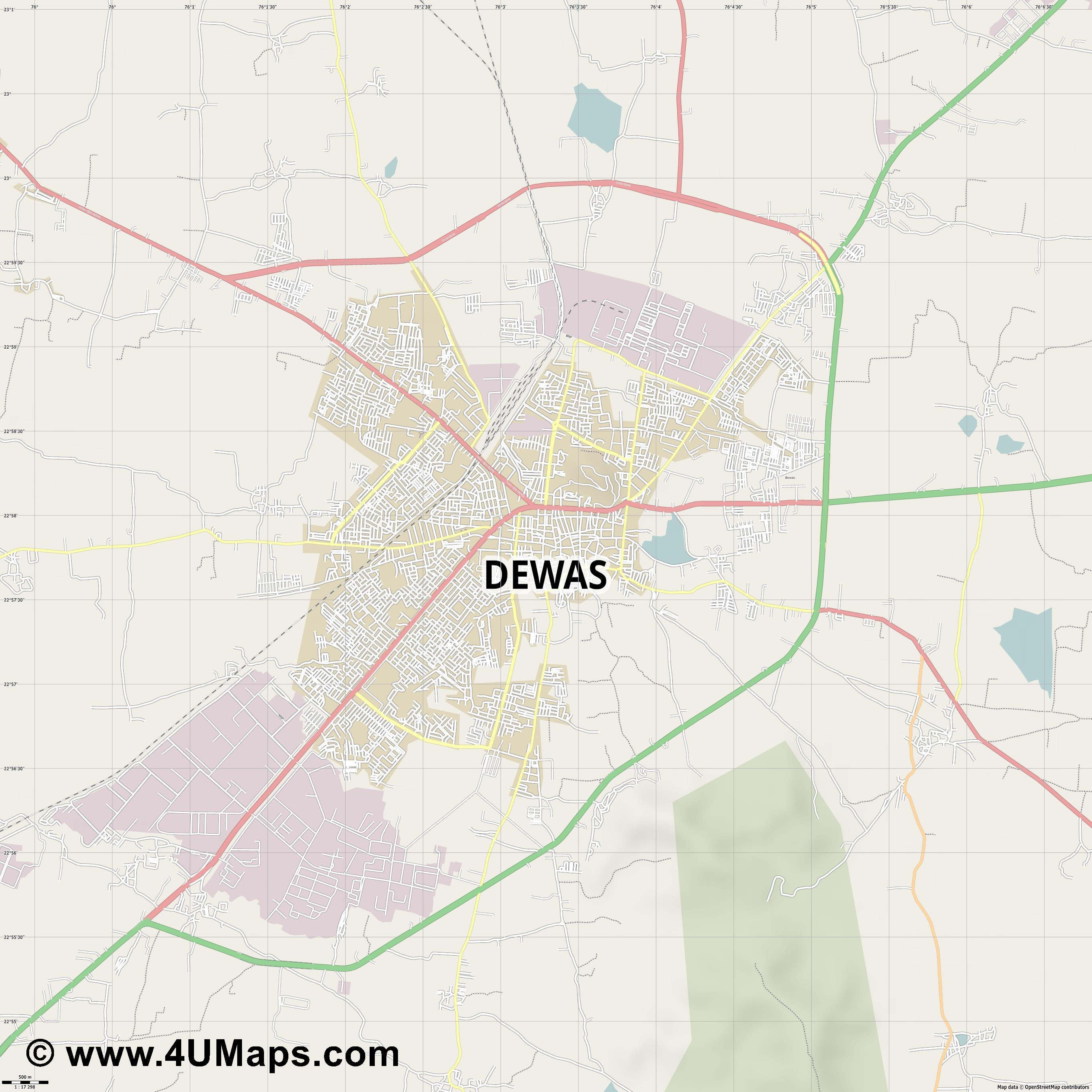 Dewas  jpg ultra high detail preview vector city map