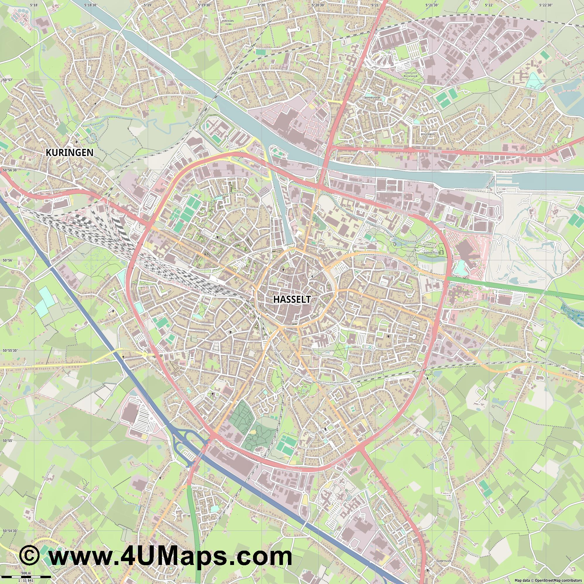 Hasselt  jpg ultra high detail preview vector city map