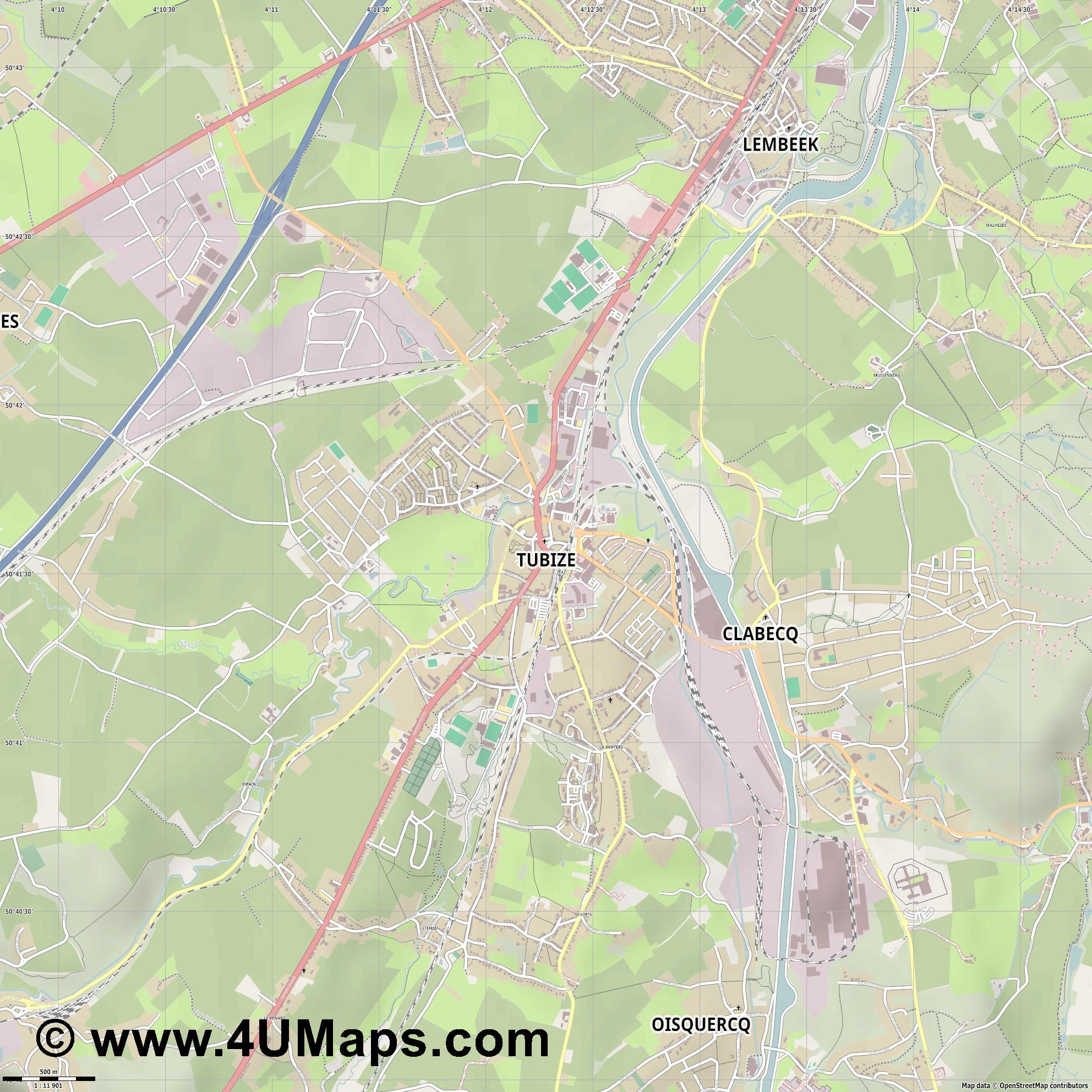 Tubize  jpg ultra high detail preview vector city map