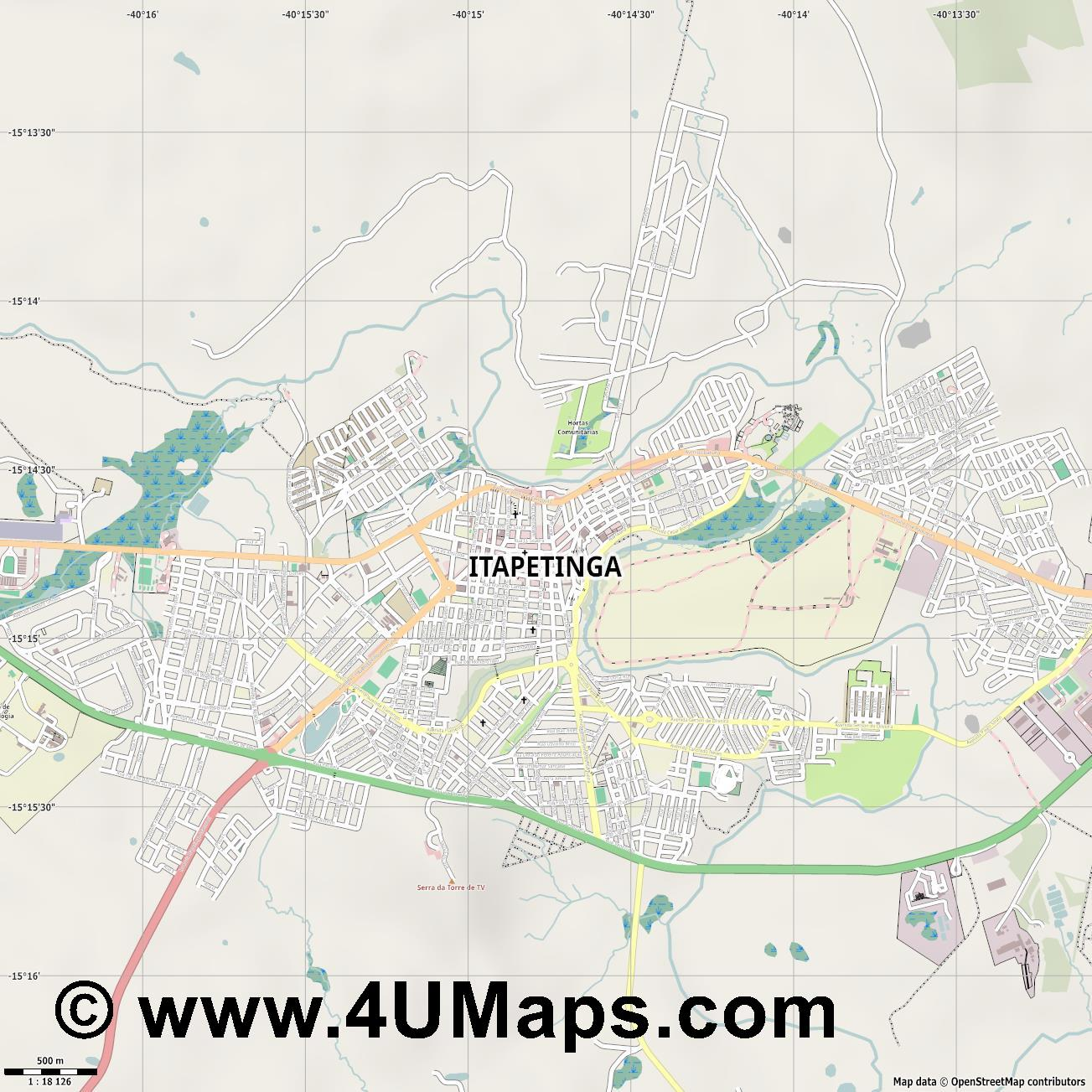 Itapetinga  jpg ultra high detail preview vector city map