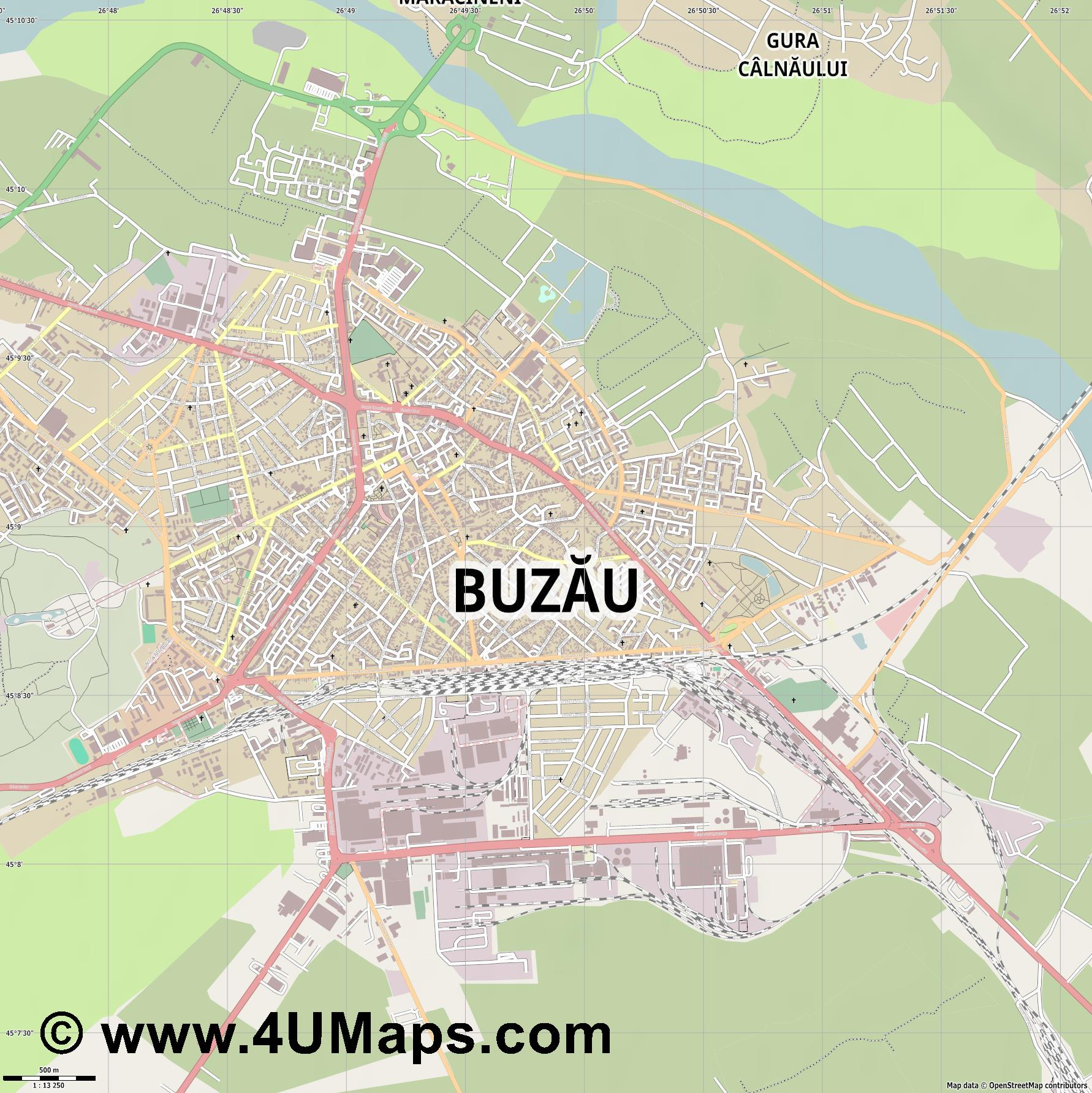 Buzău Busäu  jpg ultra high detail preview vector city map