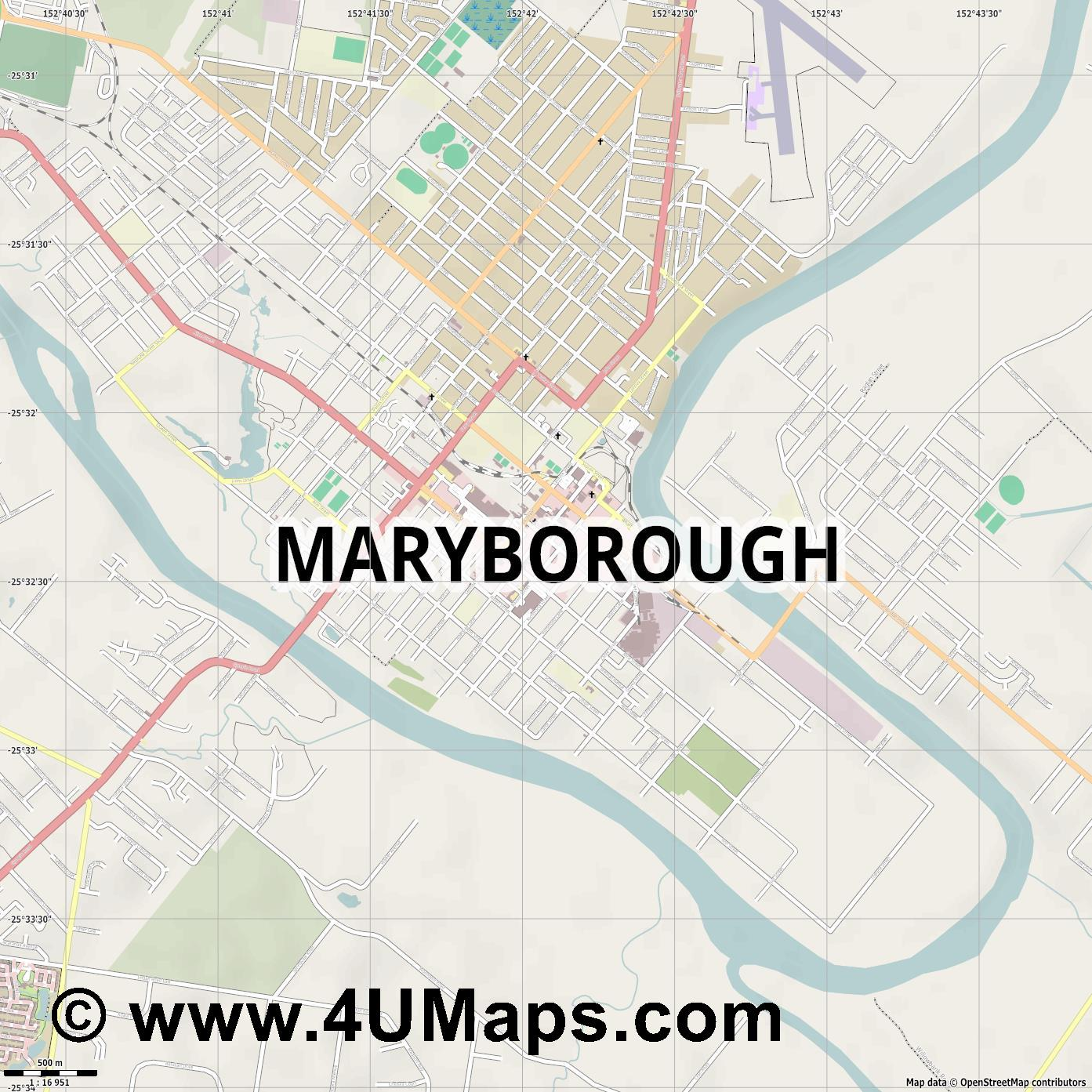 Maryborough  jpg ultra high detail preview vector city map