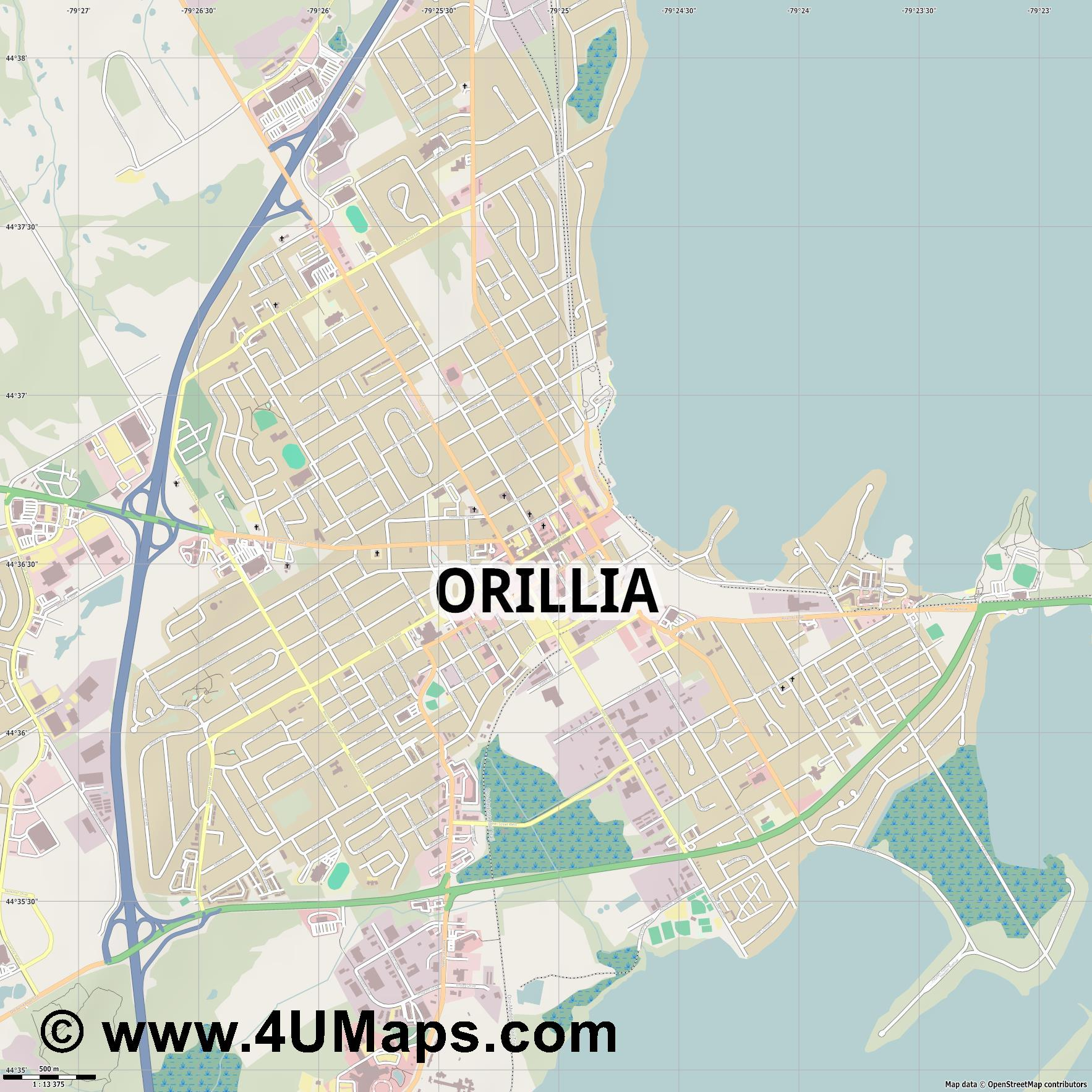 Orillia  jpg ultra high detail preview vector city map