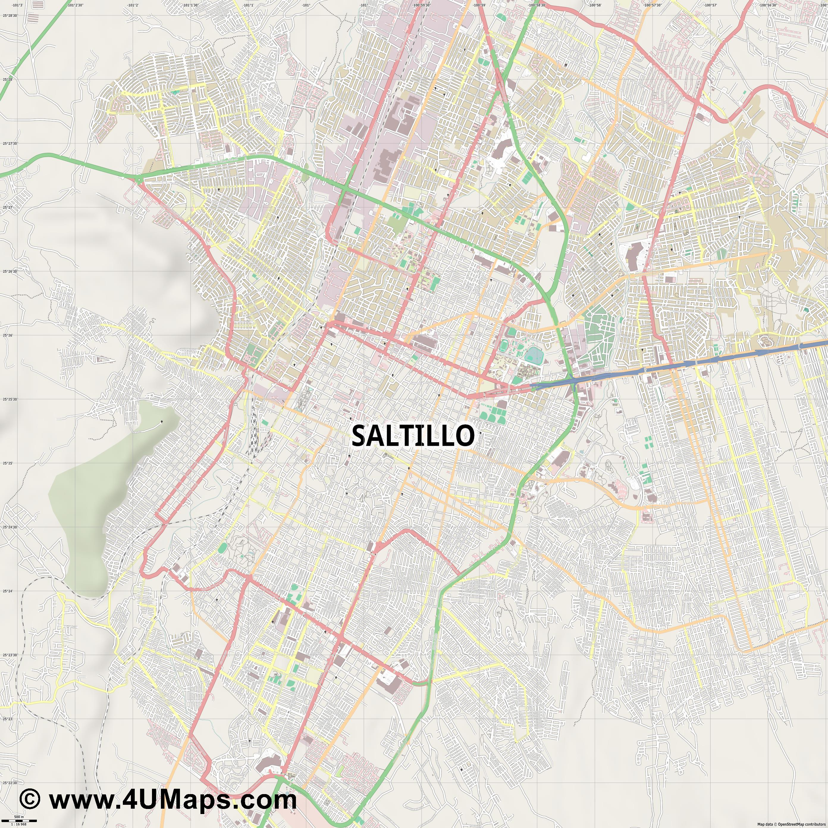 Saltillo  jpg ultra high detail preview vector city map