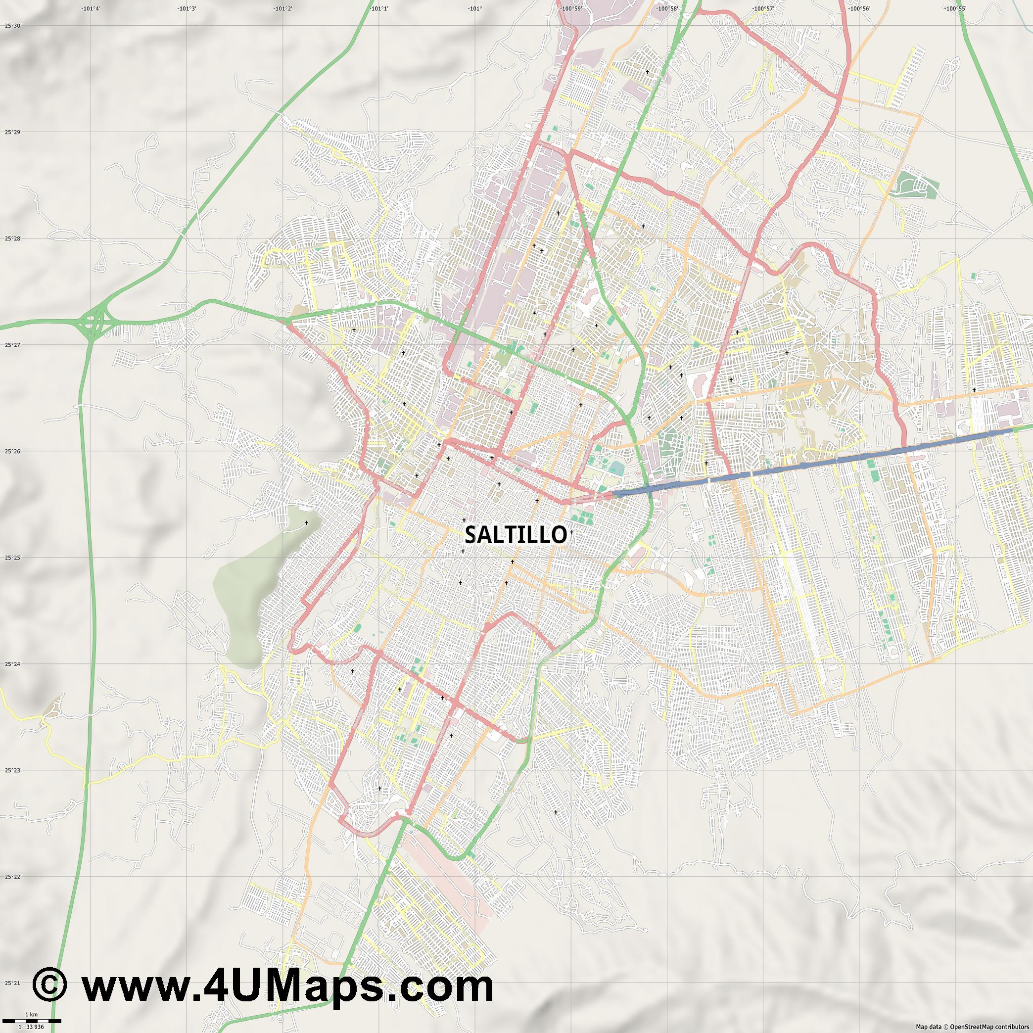 Saltillo  jpg high detail, large area preview vector city map