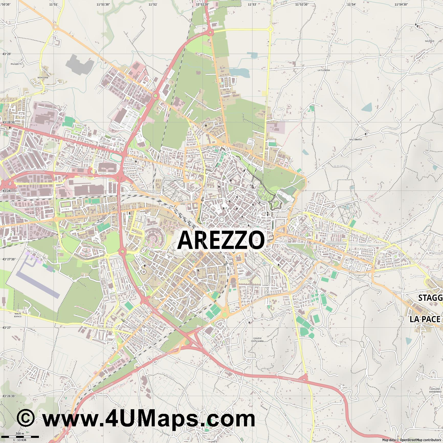 Arezzo  jpg ultra high detail preview vector city map