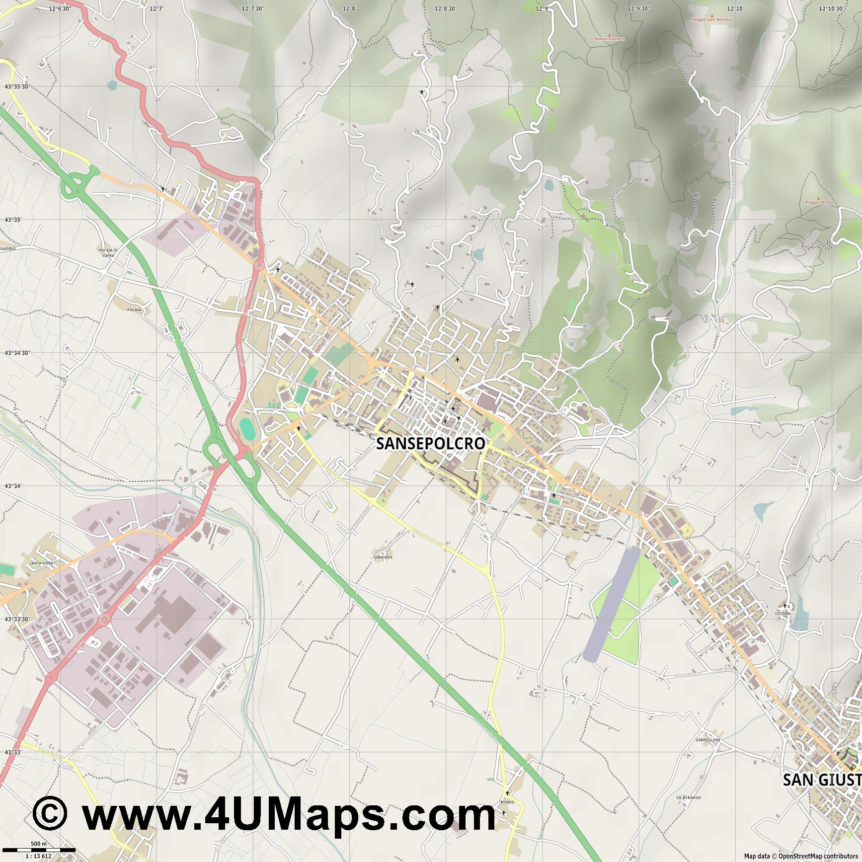 Sansepolcro  jpg ultra high detail preview vector city map