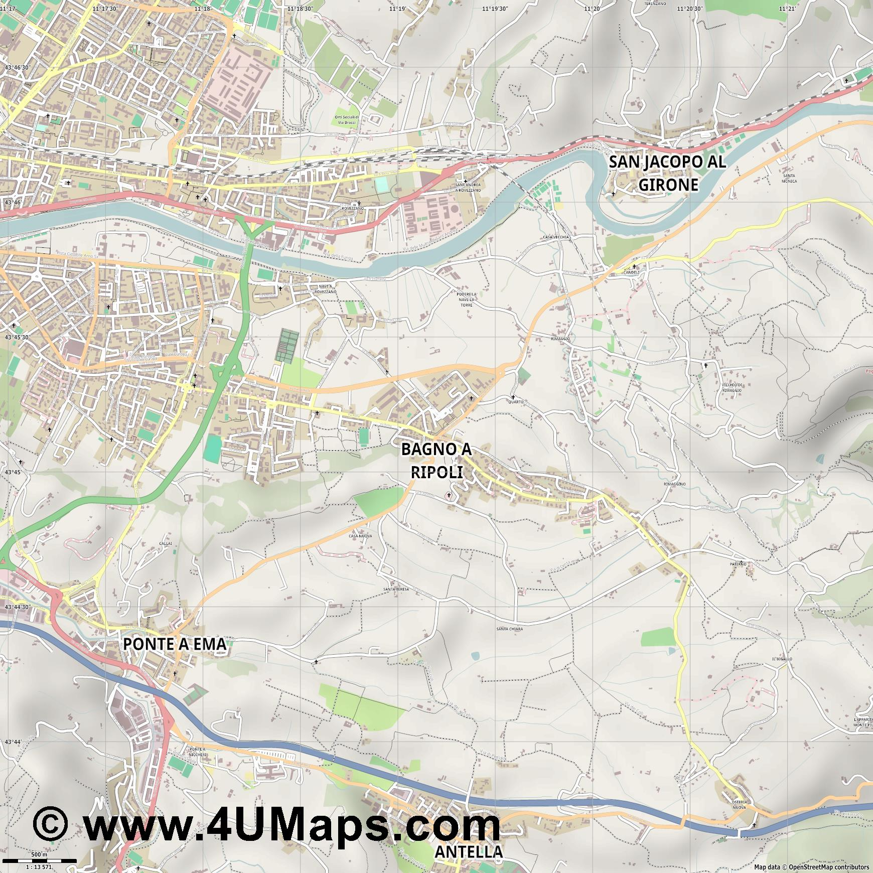 Bagno a Ripoli  jpg ultra high detail preview vector city map