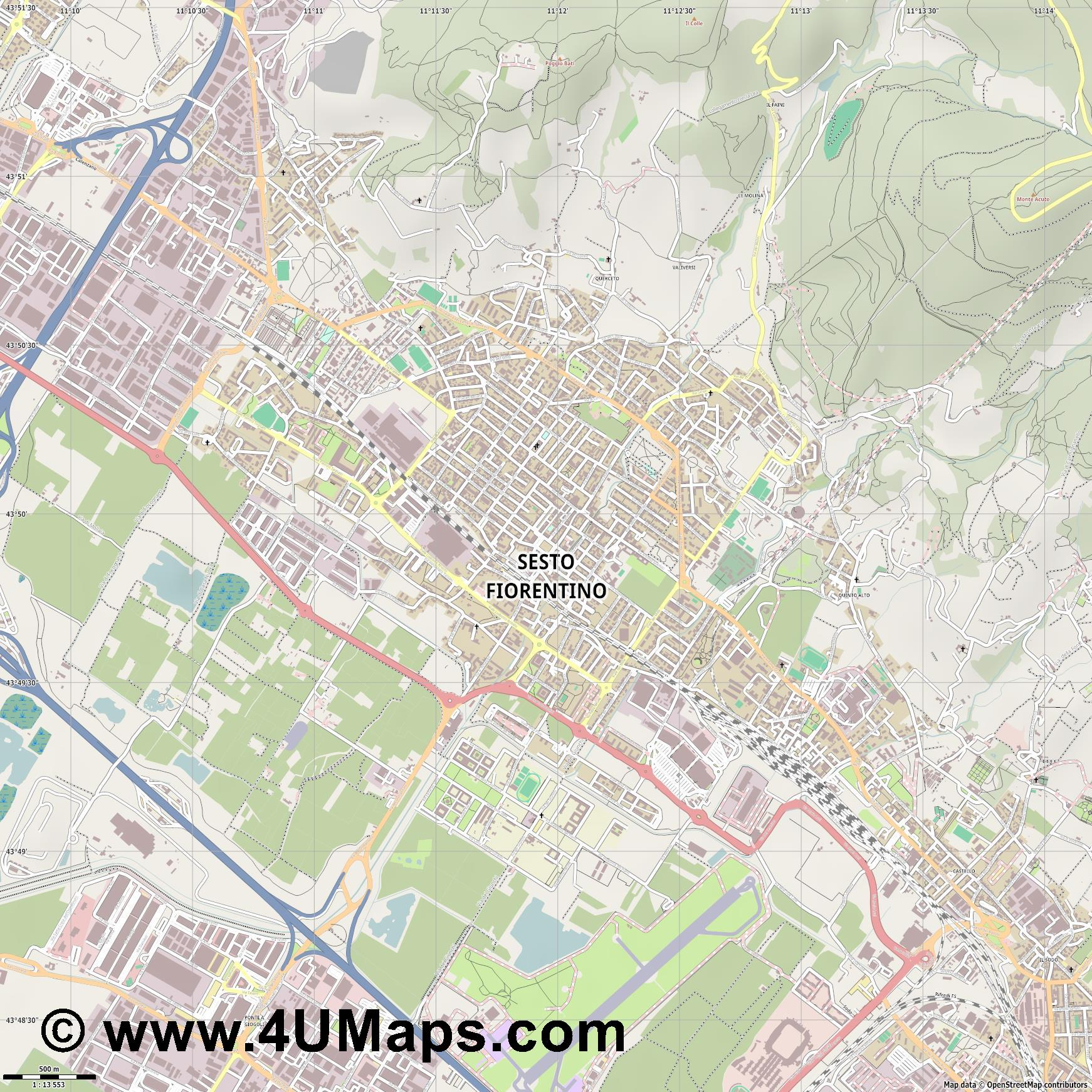 Sesto Fiorentino  jpg ultra high detail preview vector city map