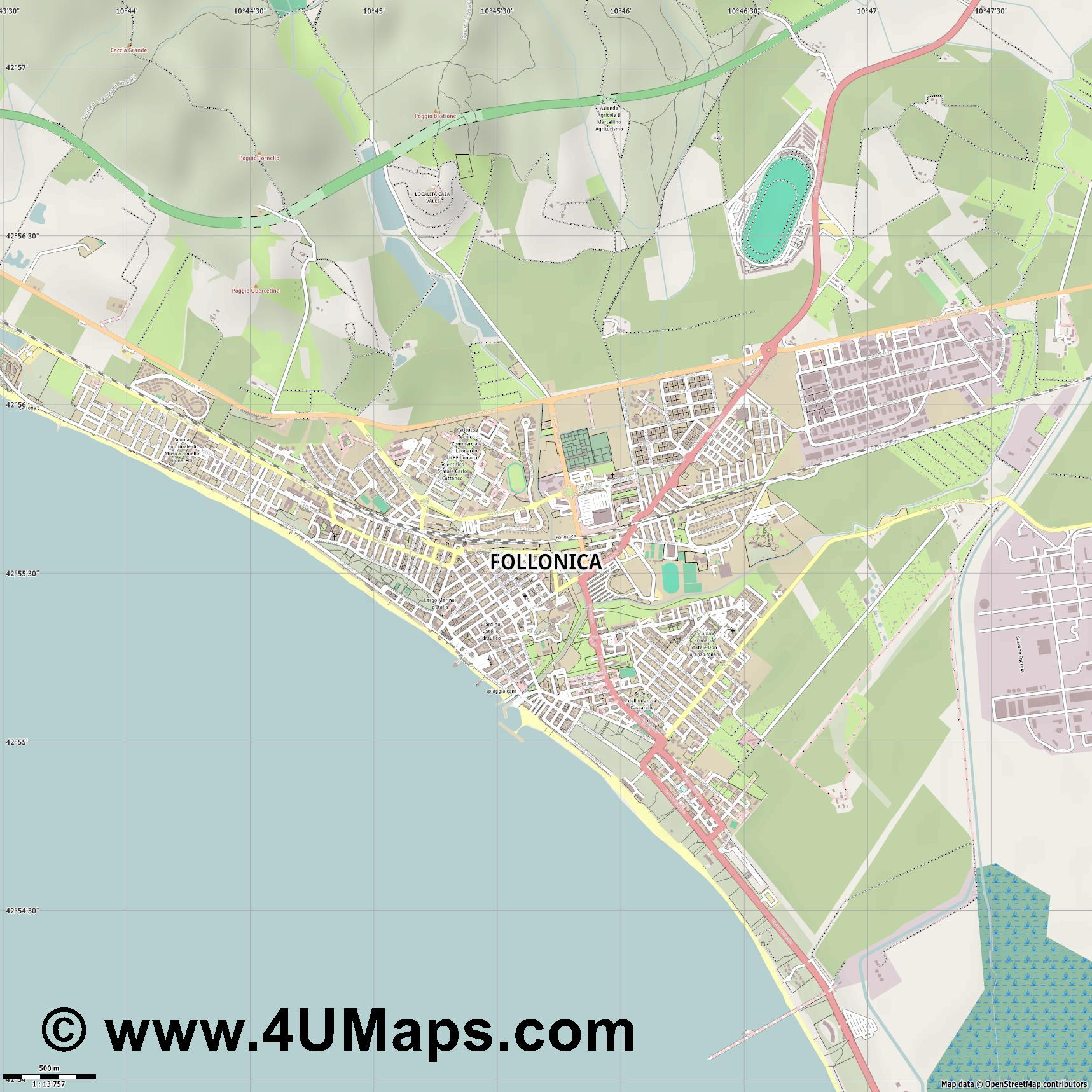 Follonica  jpg ultra high detail preview vector city map