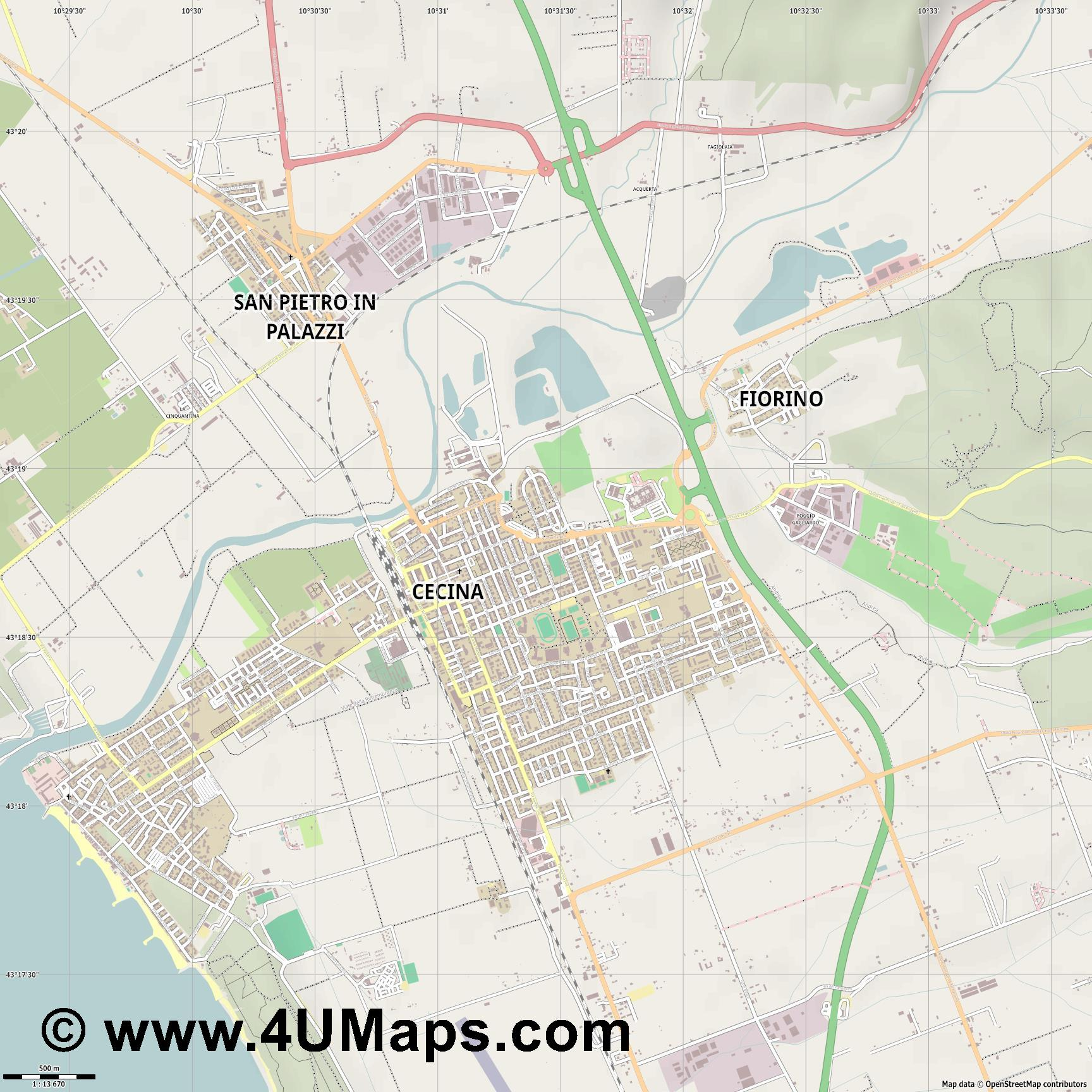 Cecina  jpg ultra high detail preview vector city map