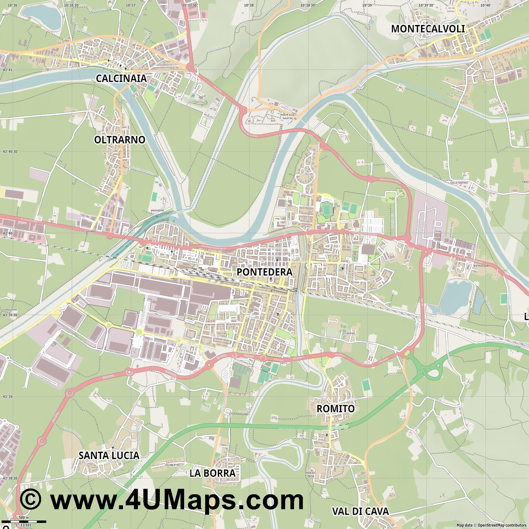 Pontedera  jpg ultra high detail preview vector city map
