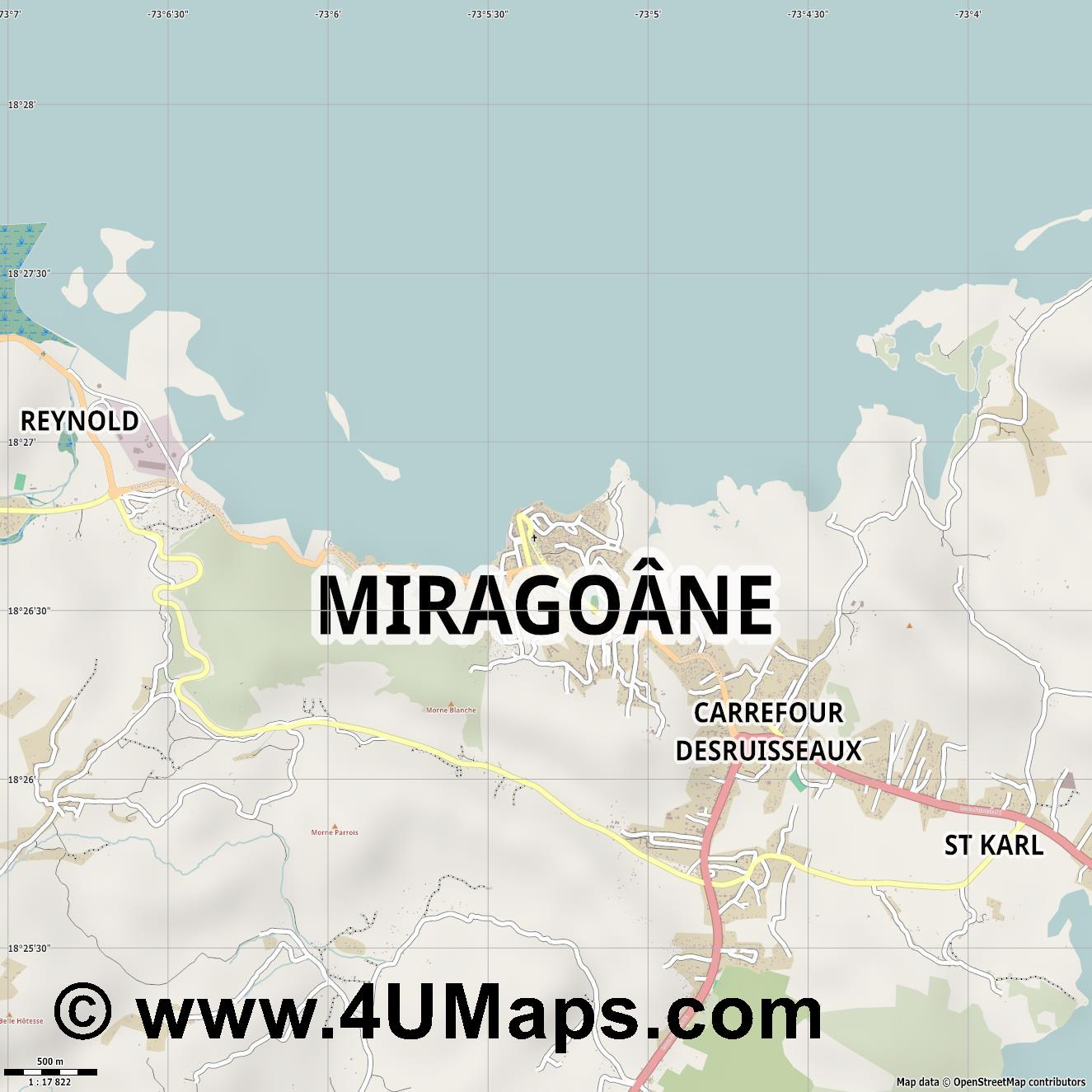 Miragoâne Miragoane  jpg ultra high detail preview vector city map