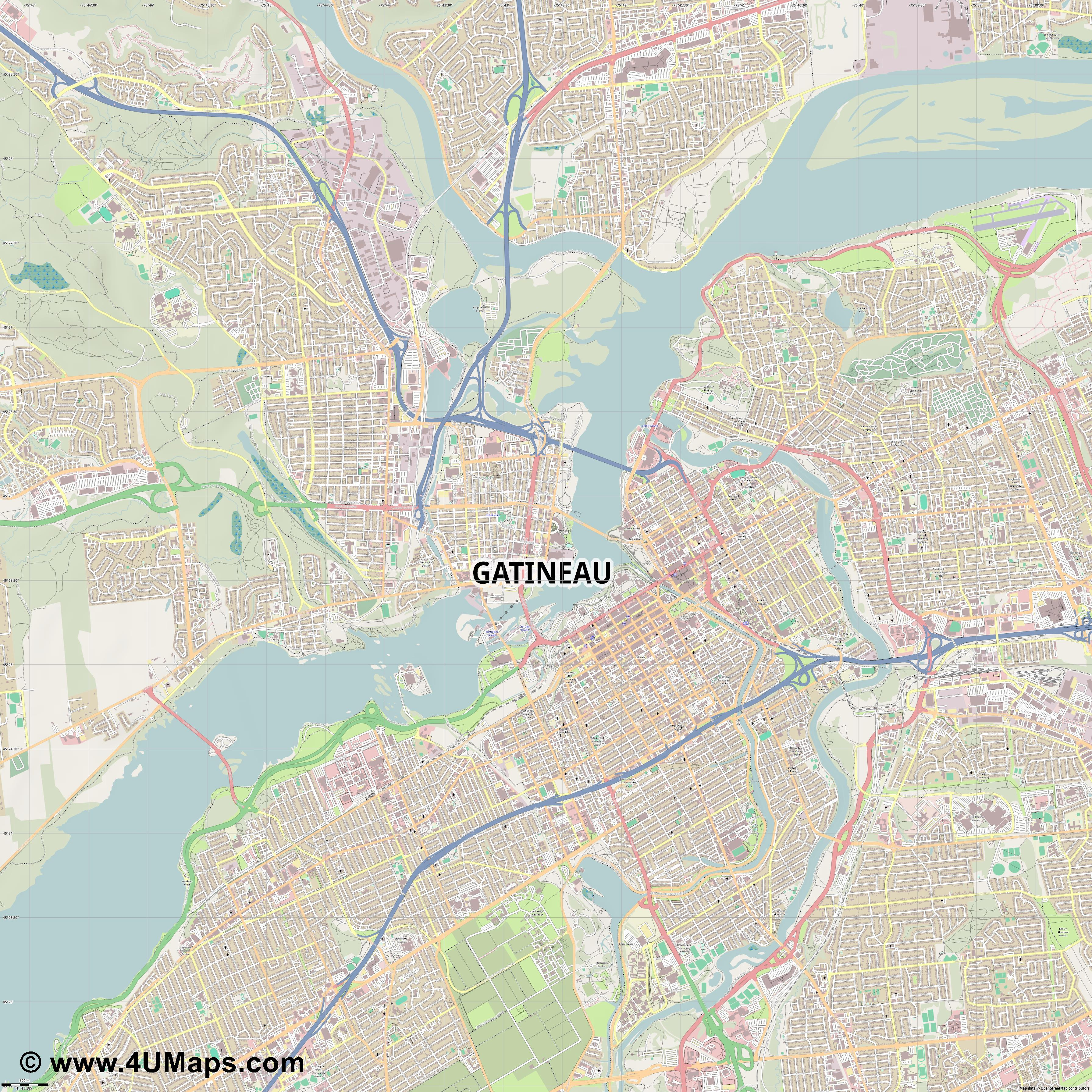 Gatineau  jpg ultra high detail preview vector city map