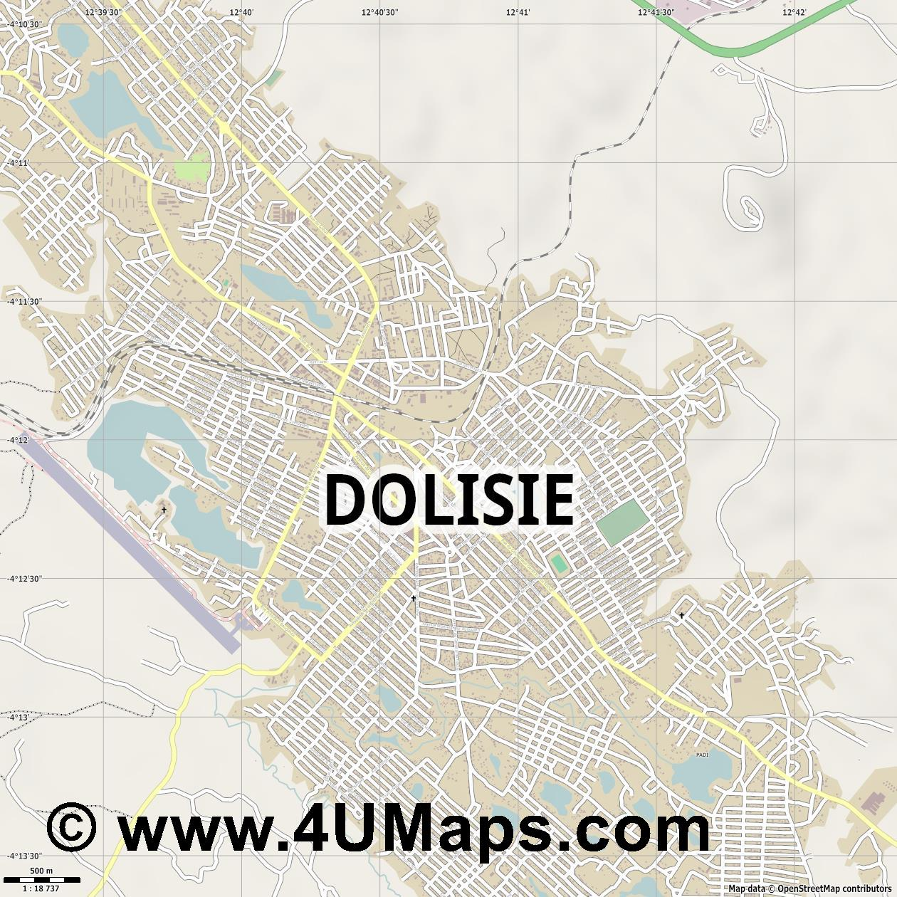 Dolisie  jpg ultra high detail preview vector city map