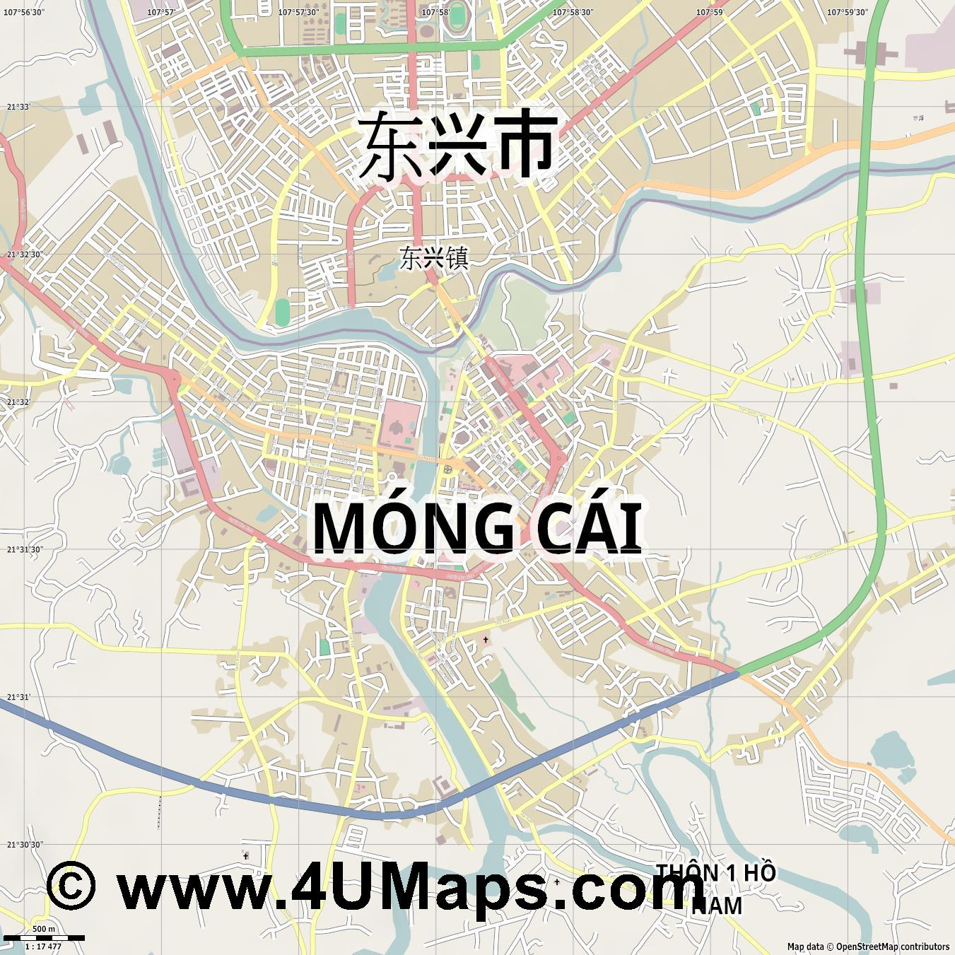 Móng Cái Mong Cai  jpg ultra high detail preview vector city map