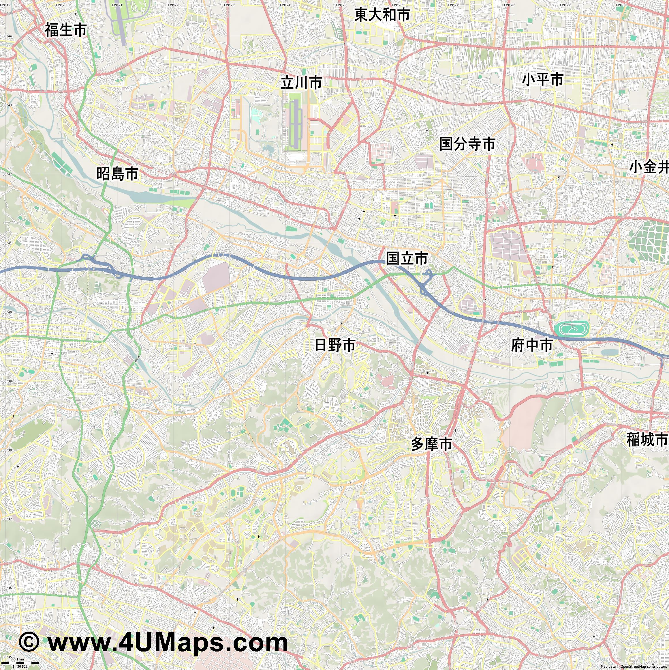 日野市  Hino   jpg high detail, large area preview vector city map