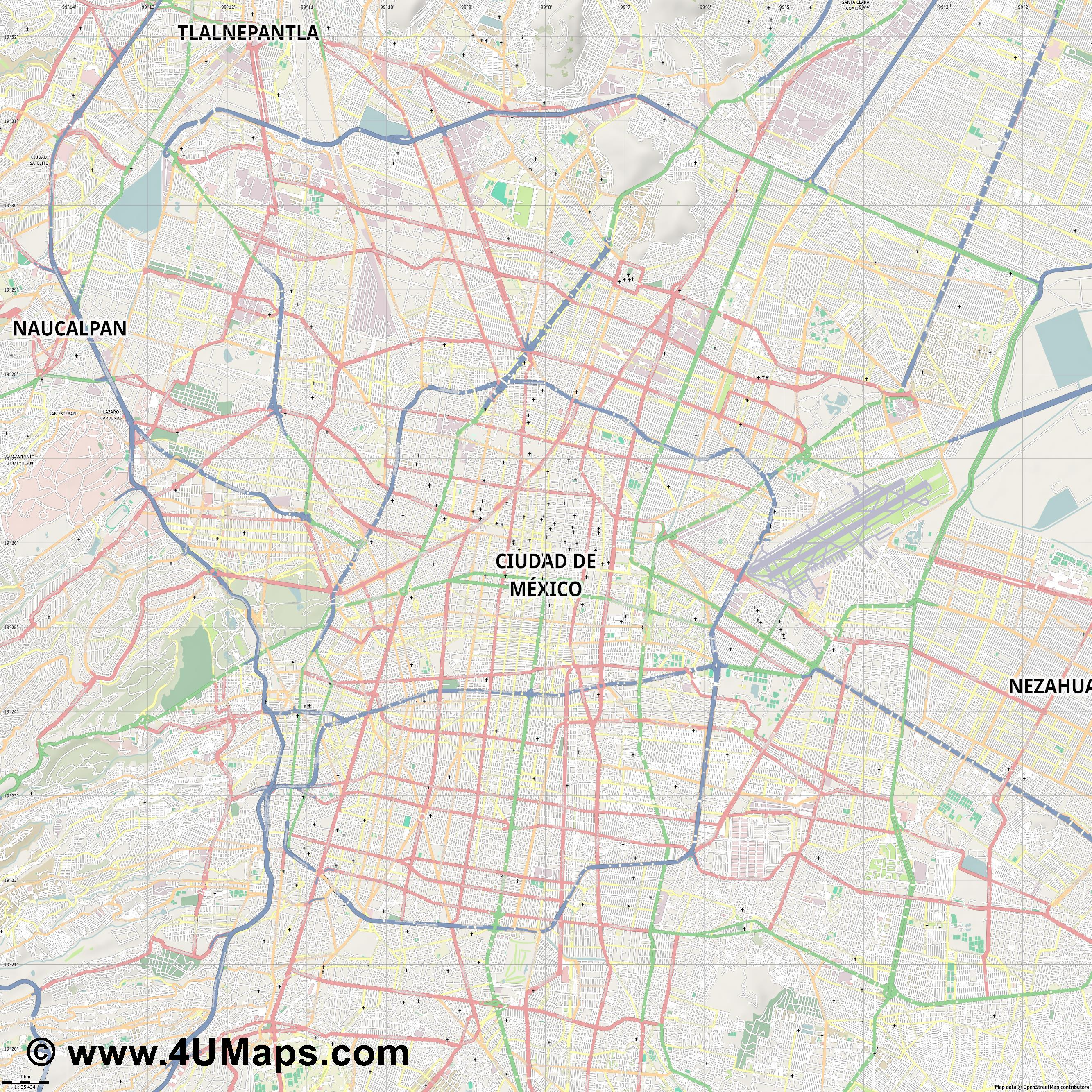 Ciudad de México Mexico City Città del Messico Mexiko Stadt  jpg high detail, large area preview vector city map