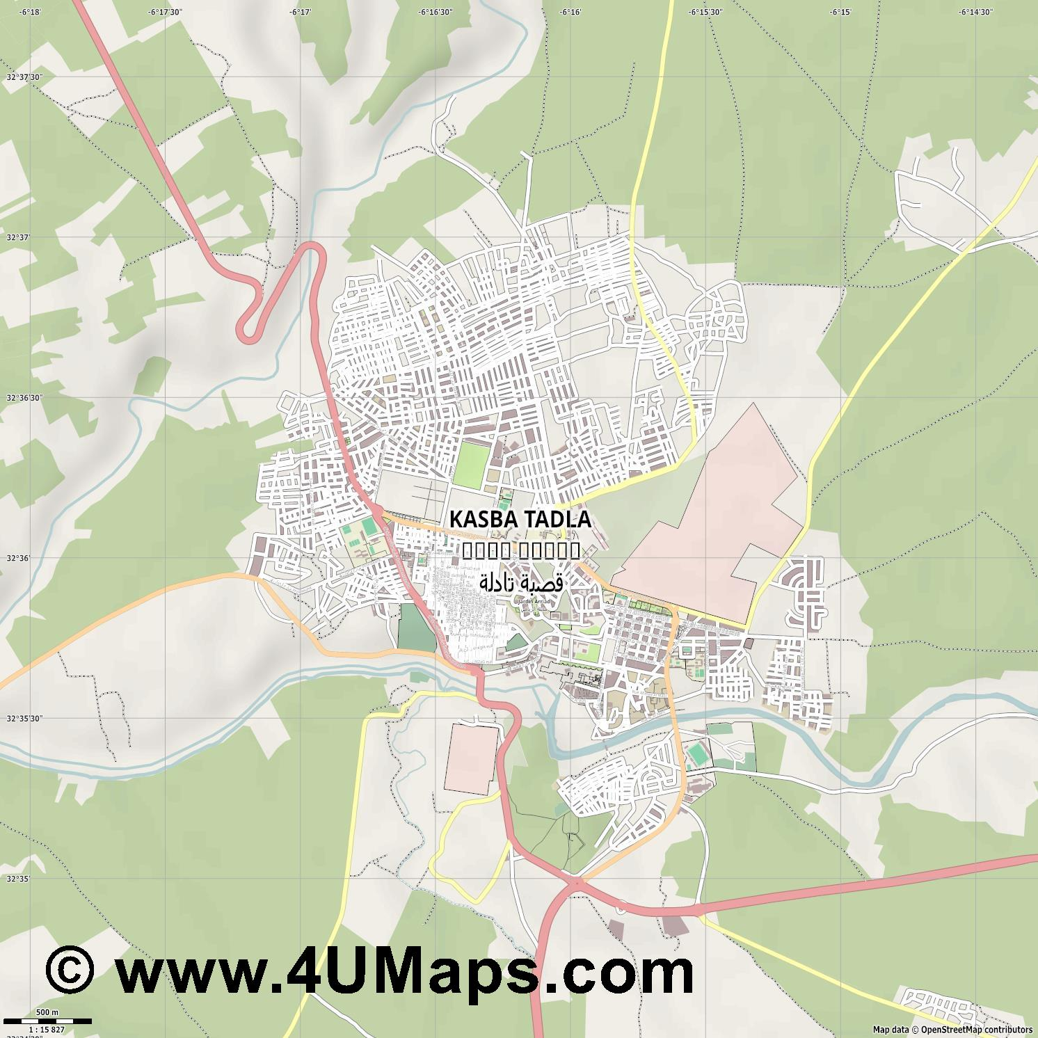 Kasba Tadla قصبة تادلة  jpg ultra high detail preview vector city map