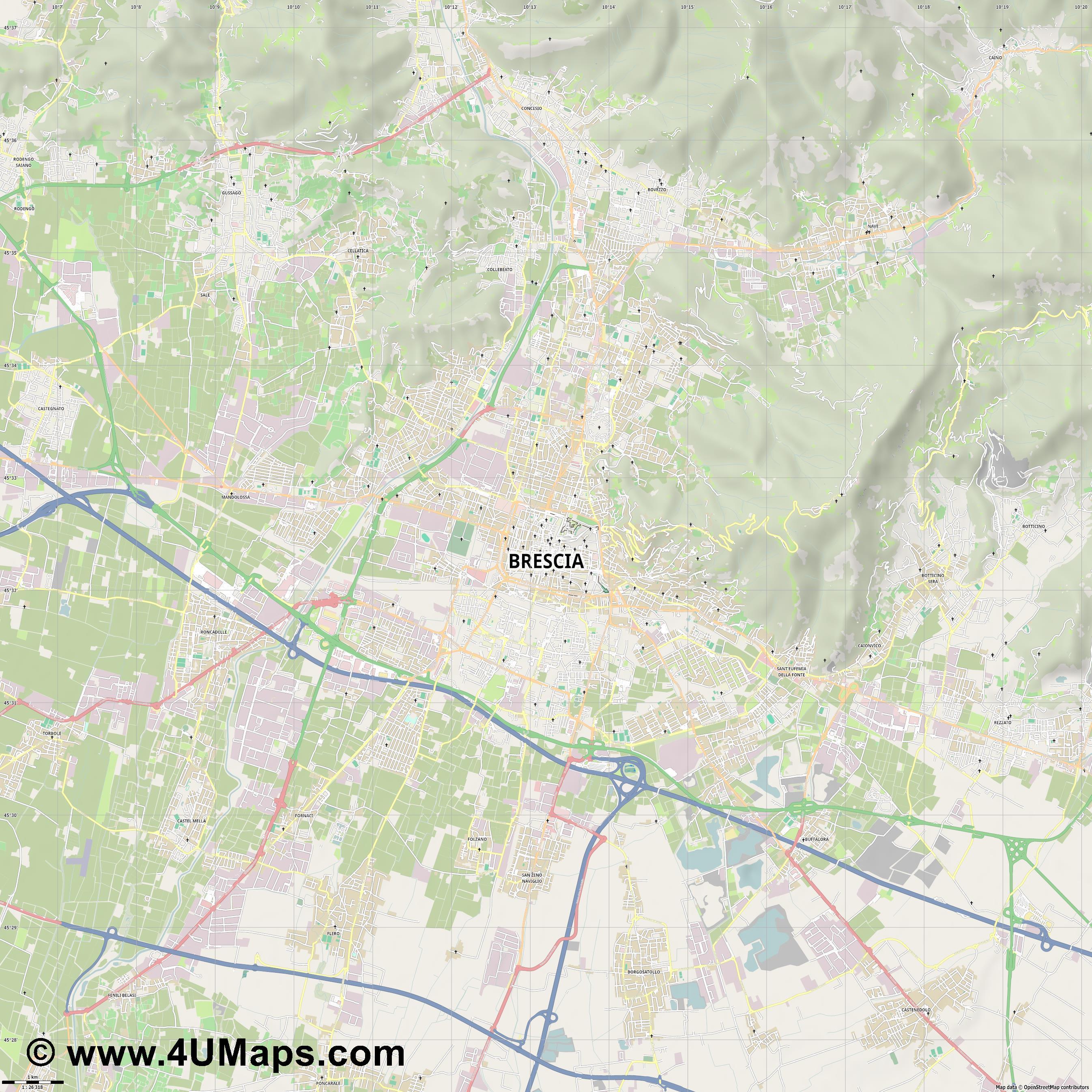 PDF Svg Scalable Vector City Map Brescia