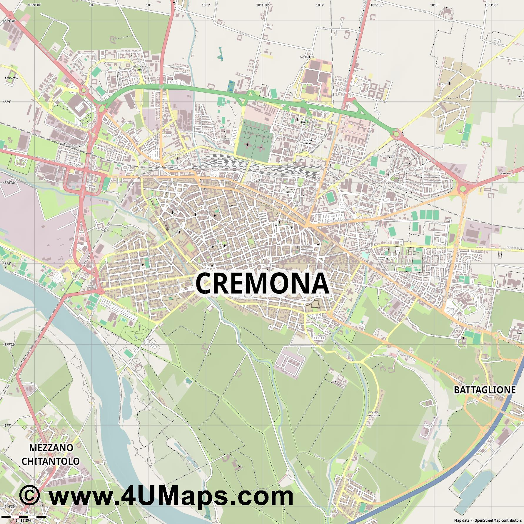 Cremona Crémone  jpg ultra high detail preview vector city map
