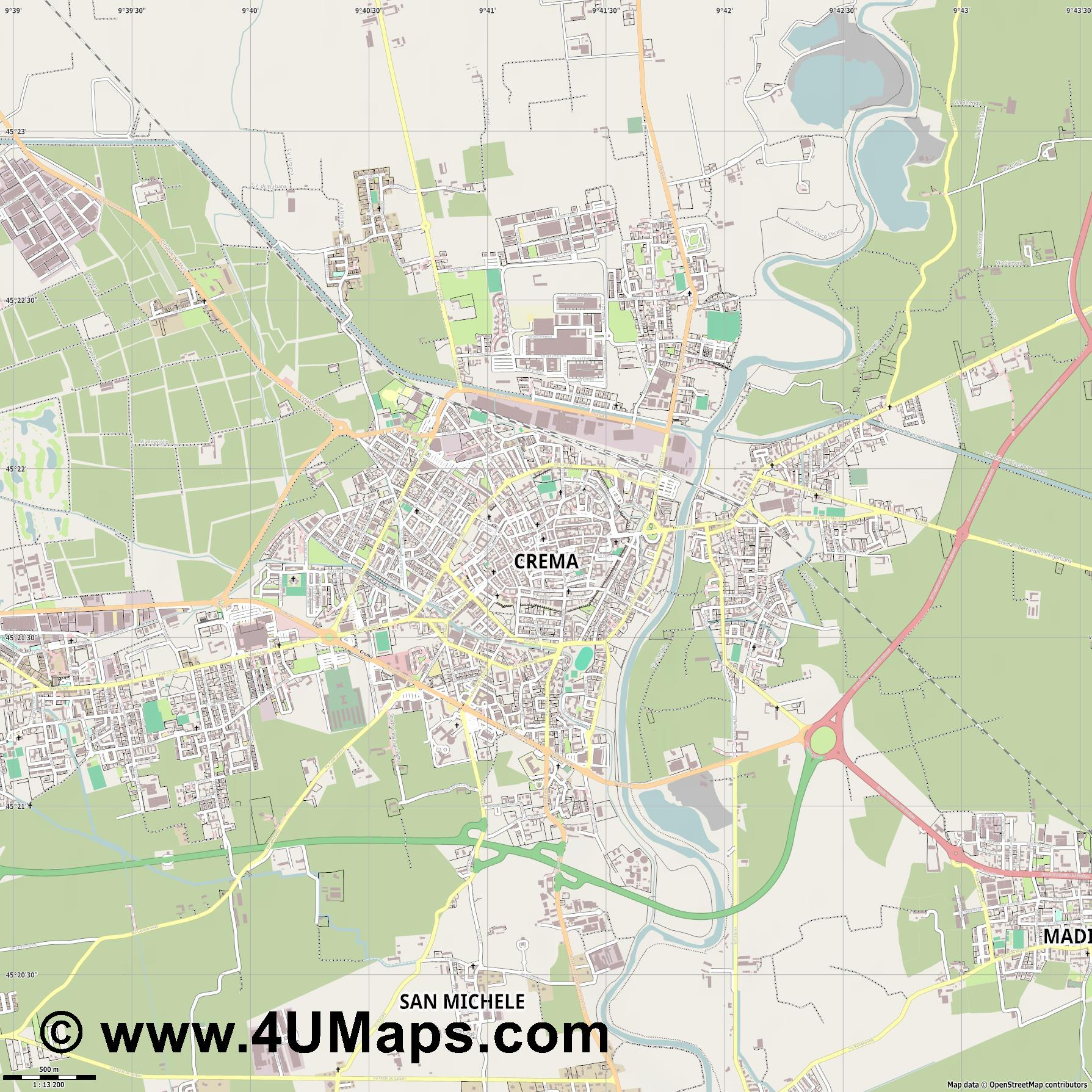 Crema  jpg ultra high detail preview vector city map