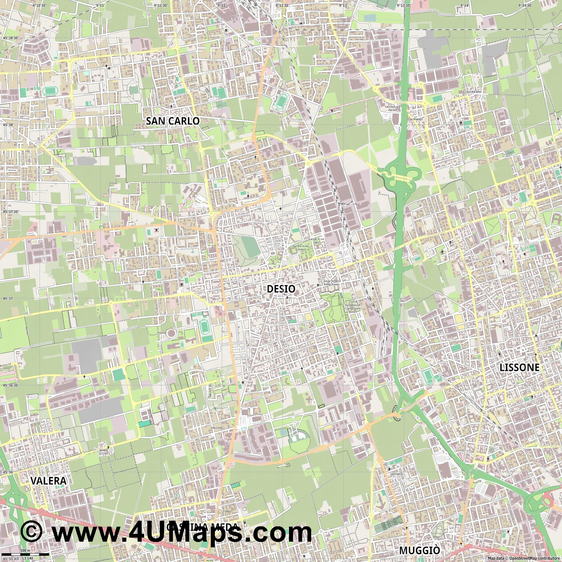 Desio  jpg ultra high detail preview vector city map
