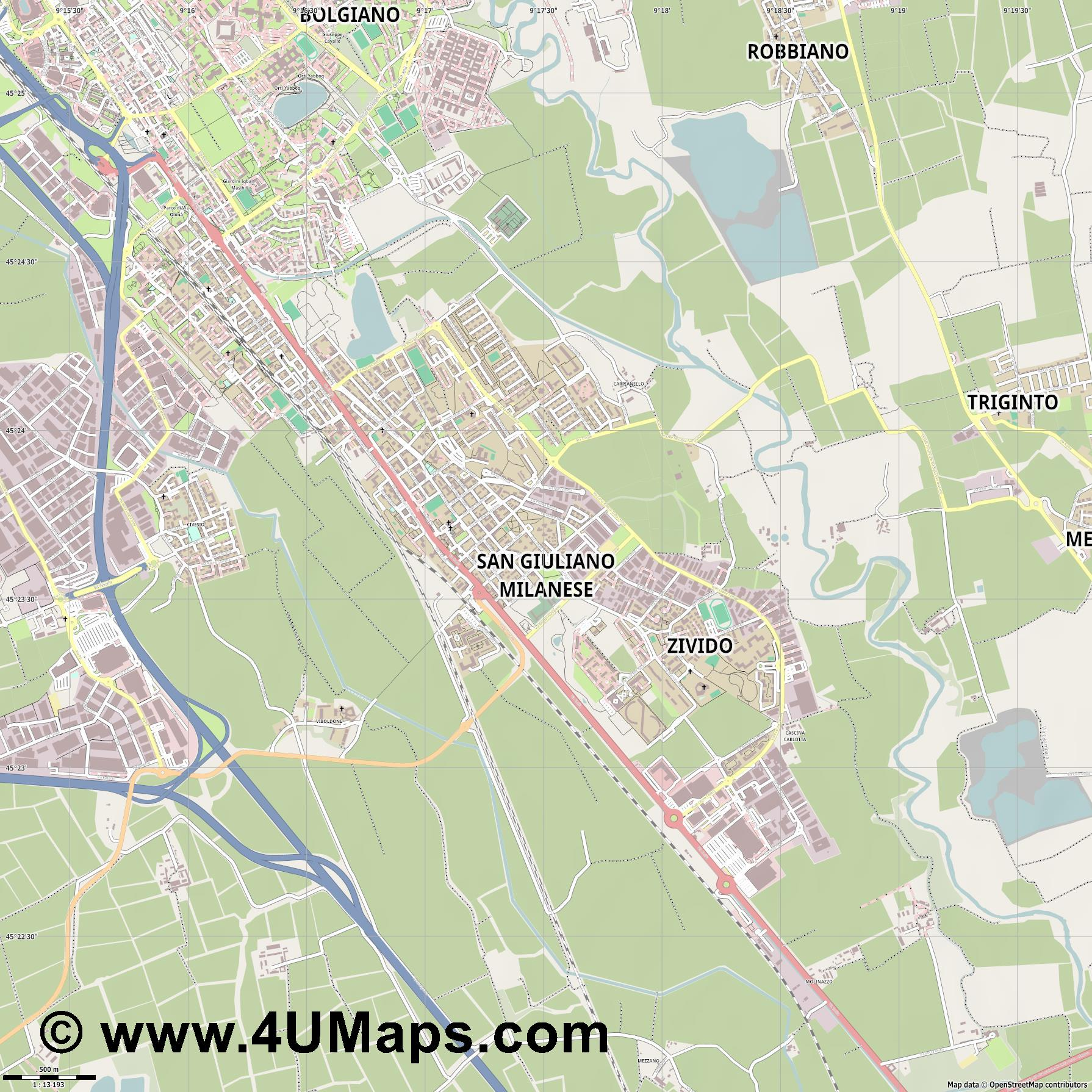 San Giuliano Milanese  jpg ultra high detail preview vector city map