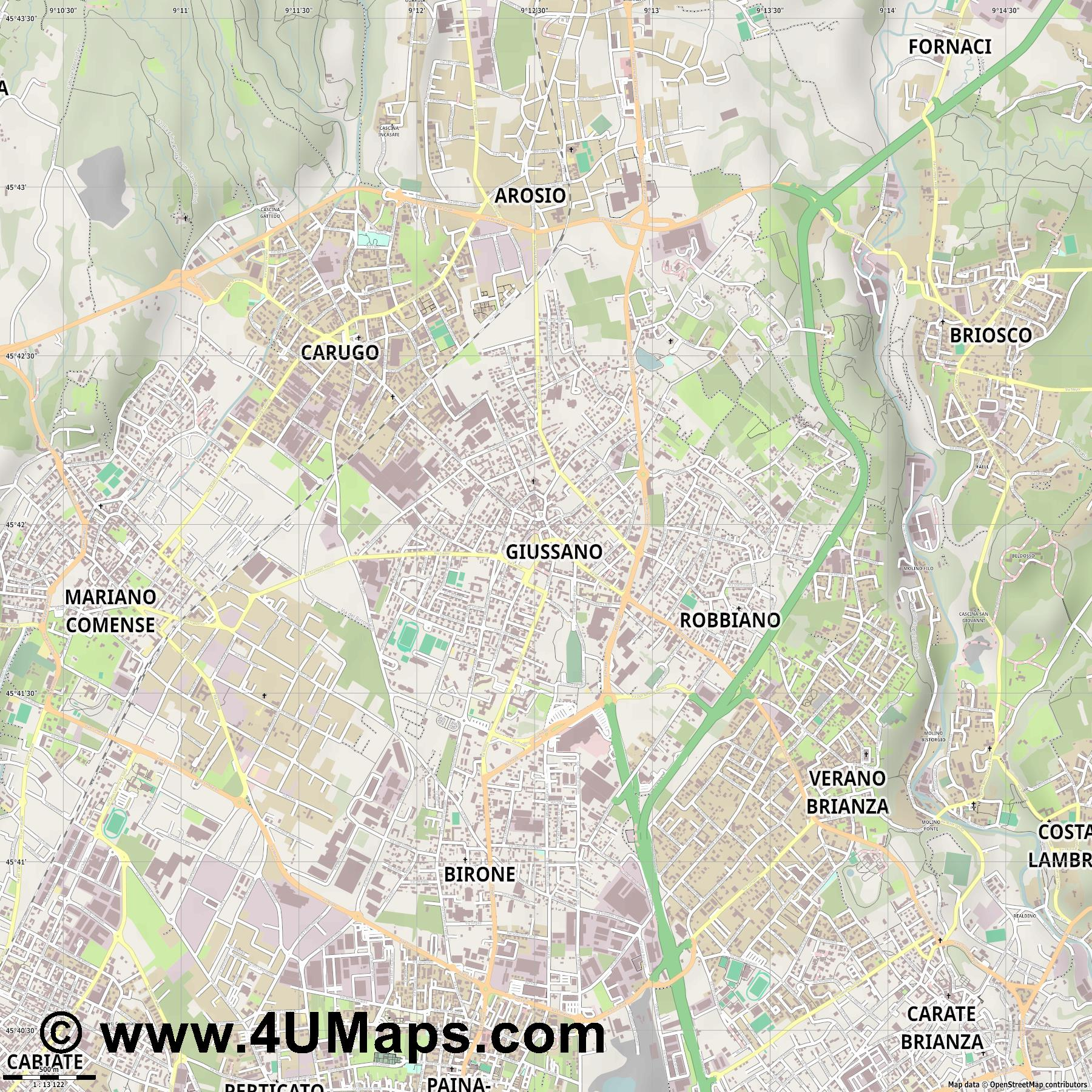 Giussano  jpg ultra high detail preview vector city map