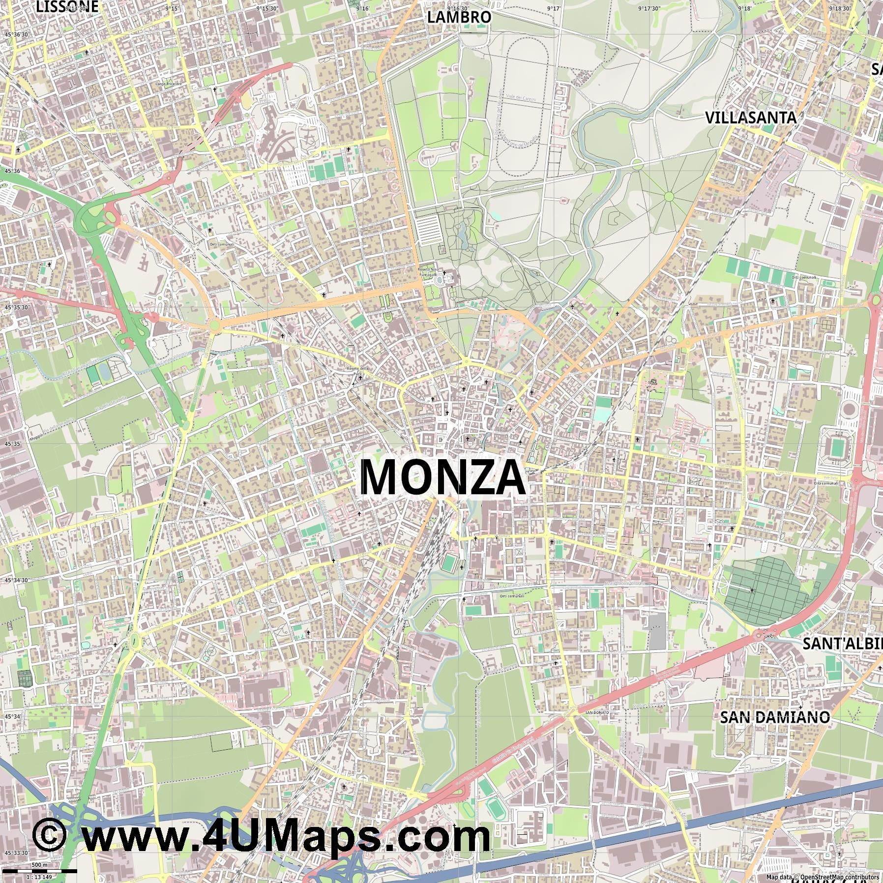 Monza  jpg ultra high detail preview vector city map