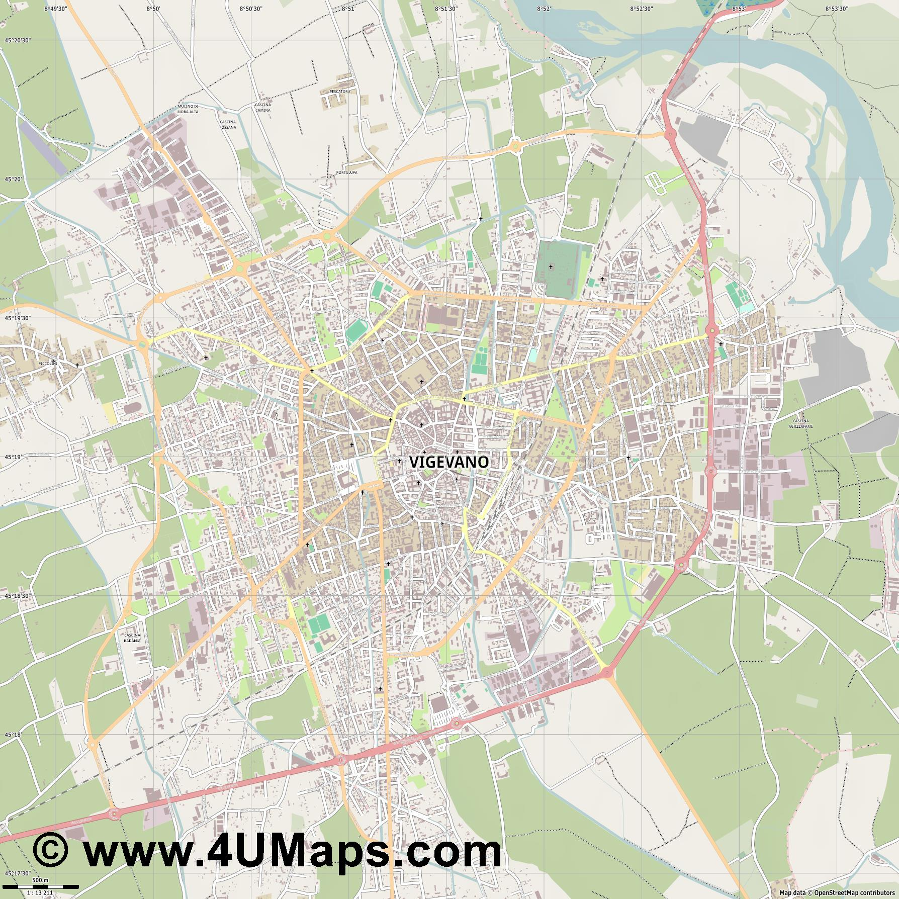 Vigevano  jpg ultra high detail preview vector city map