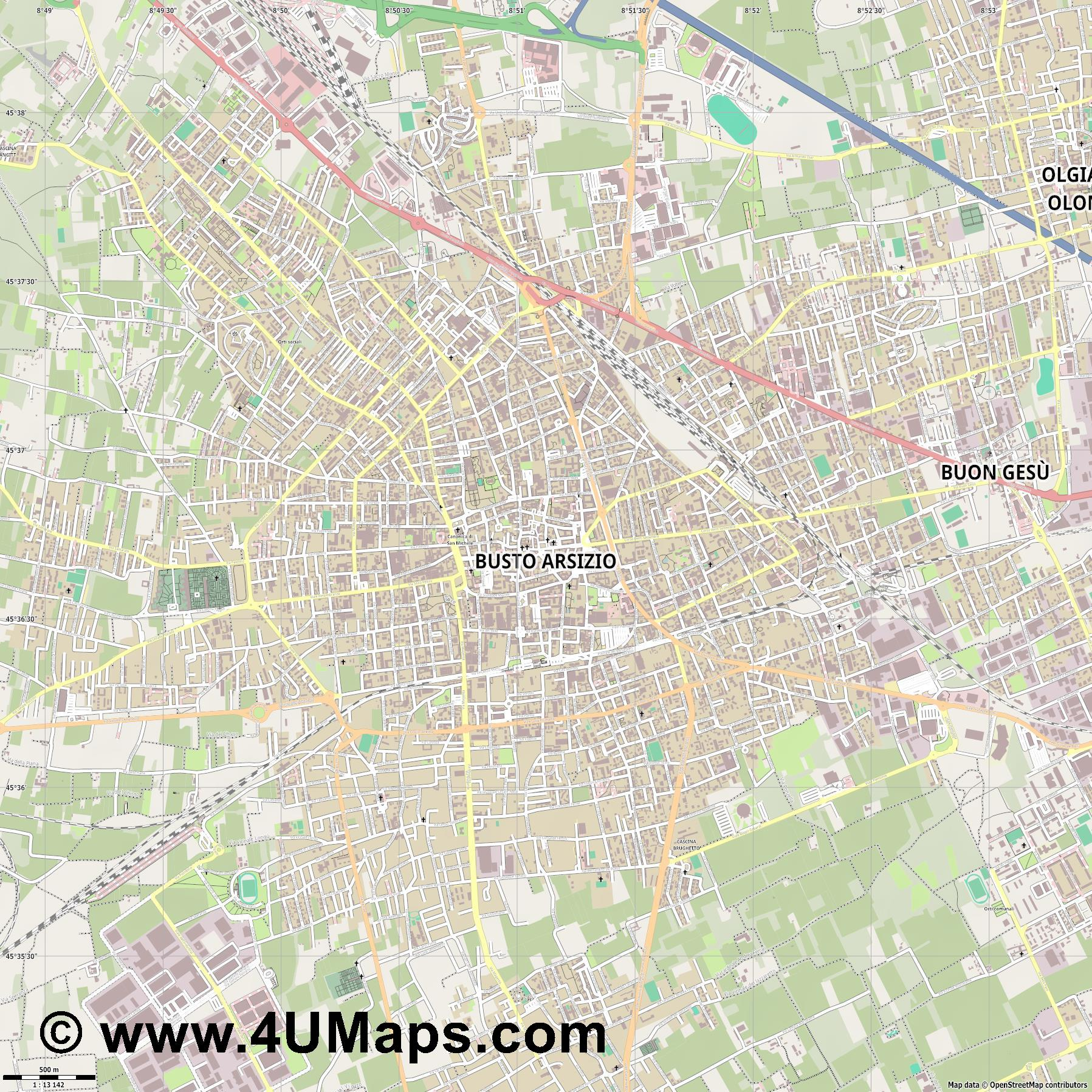 Busto Arsizio  jpg ultra high detail preview vector city map