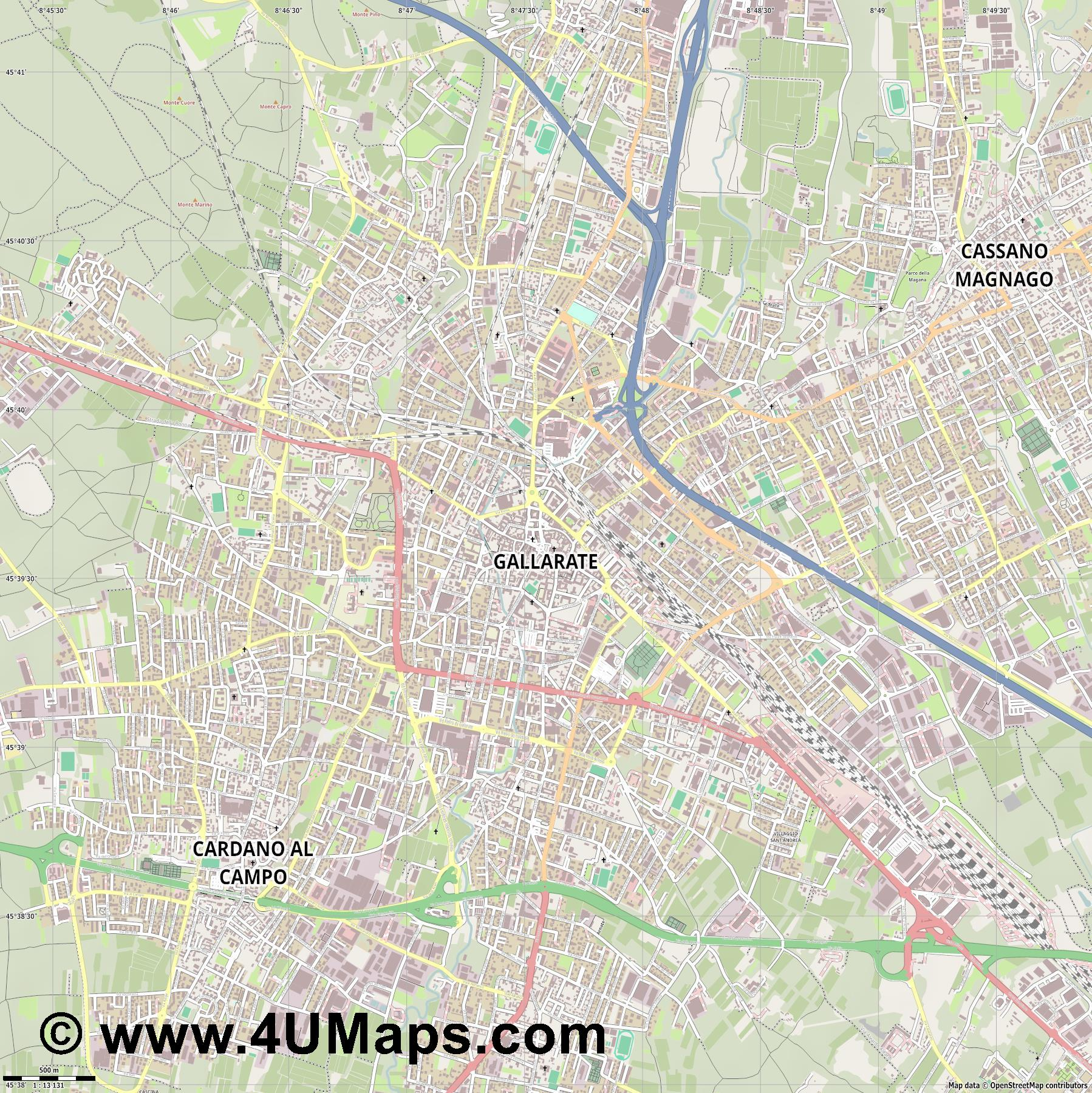 Gallarate  jpg ultra high detail preview vector city map