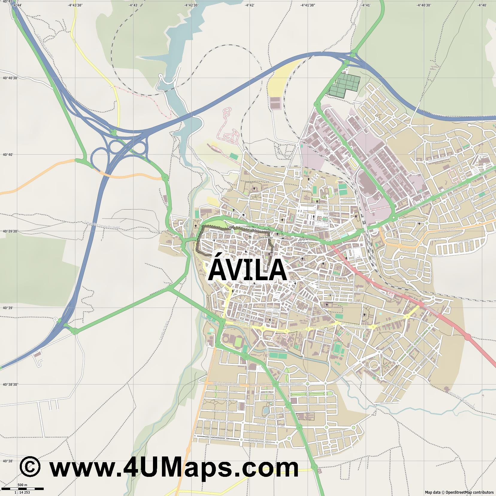 Ávila  jpg ultra high detail preview vector city map