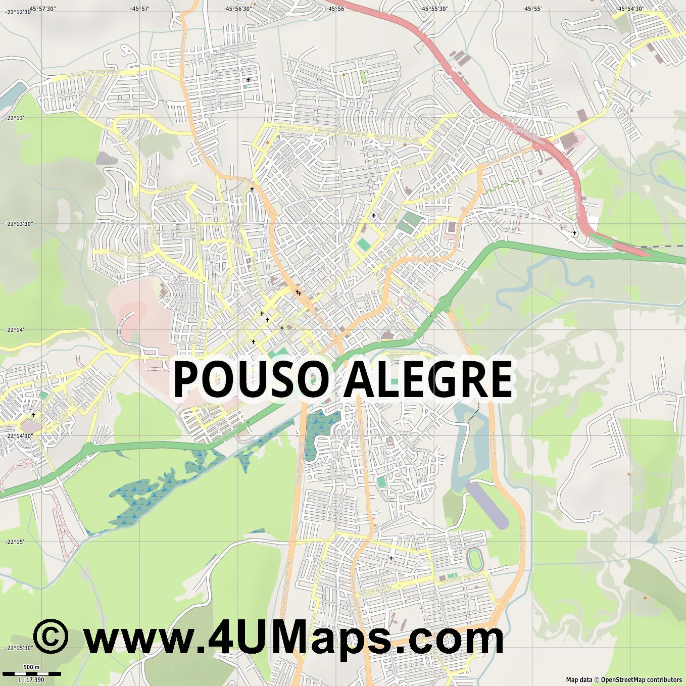 Pouso Alegre  jpg ultra high detail preview vector city map