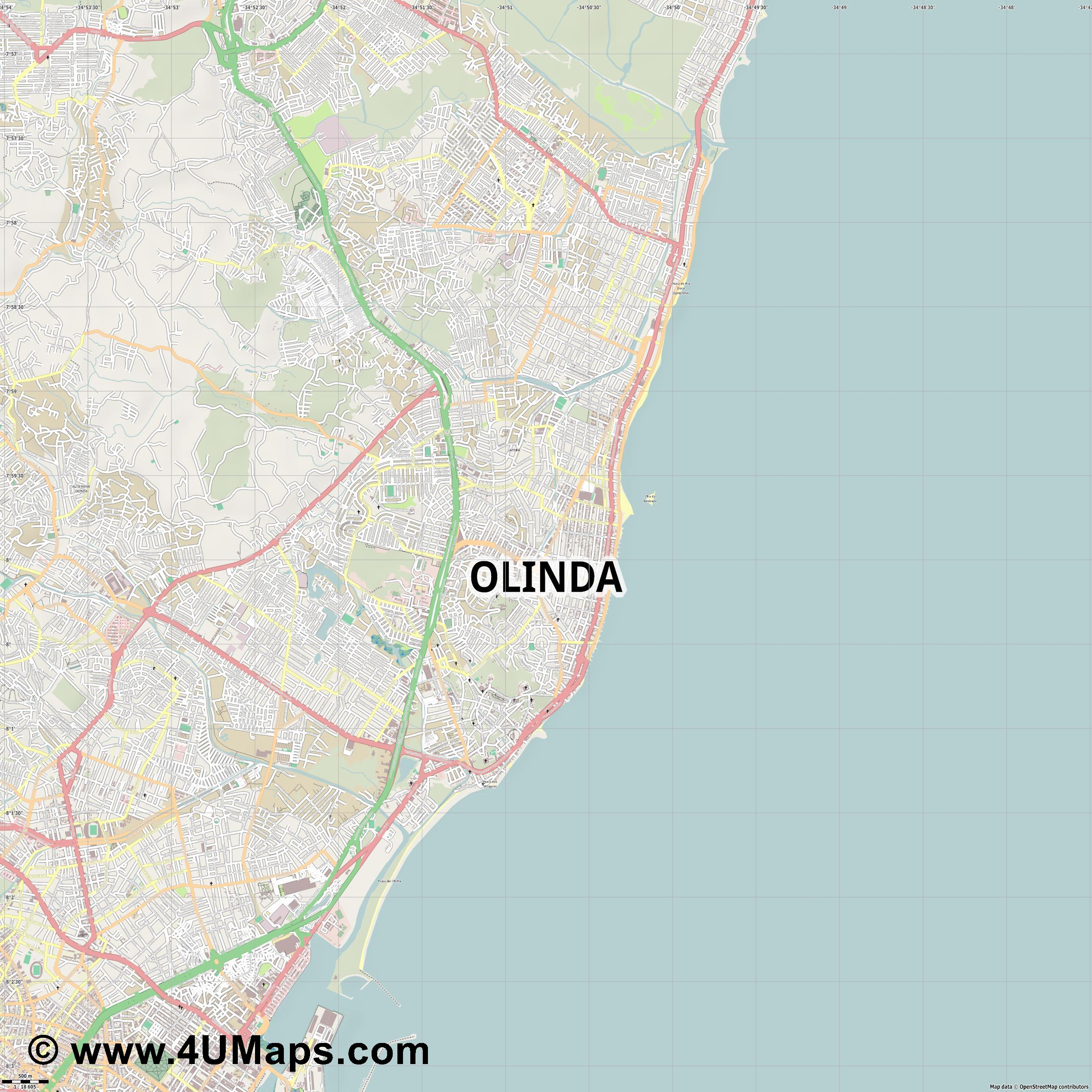 Olinda  jpg ultra high detail preview vector city map