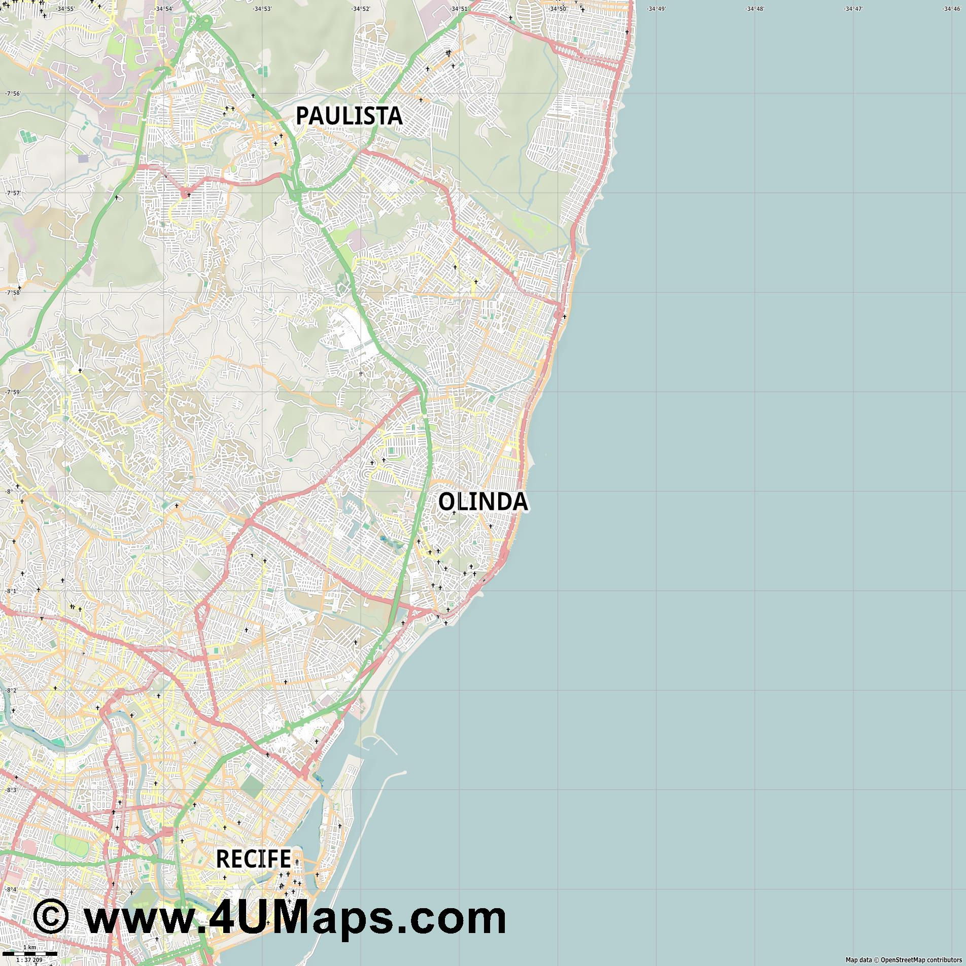 Olinda  jpg high detail, large area preview vector city map